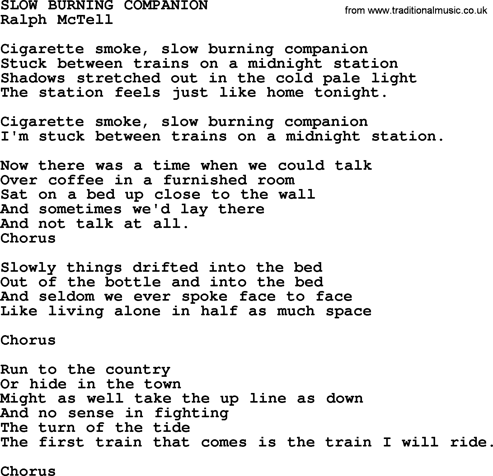 Ralph McTell Song Slow Burning Companion Lyrics