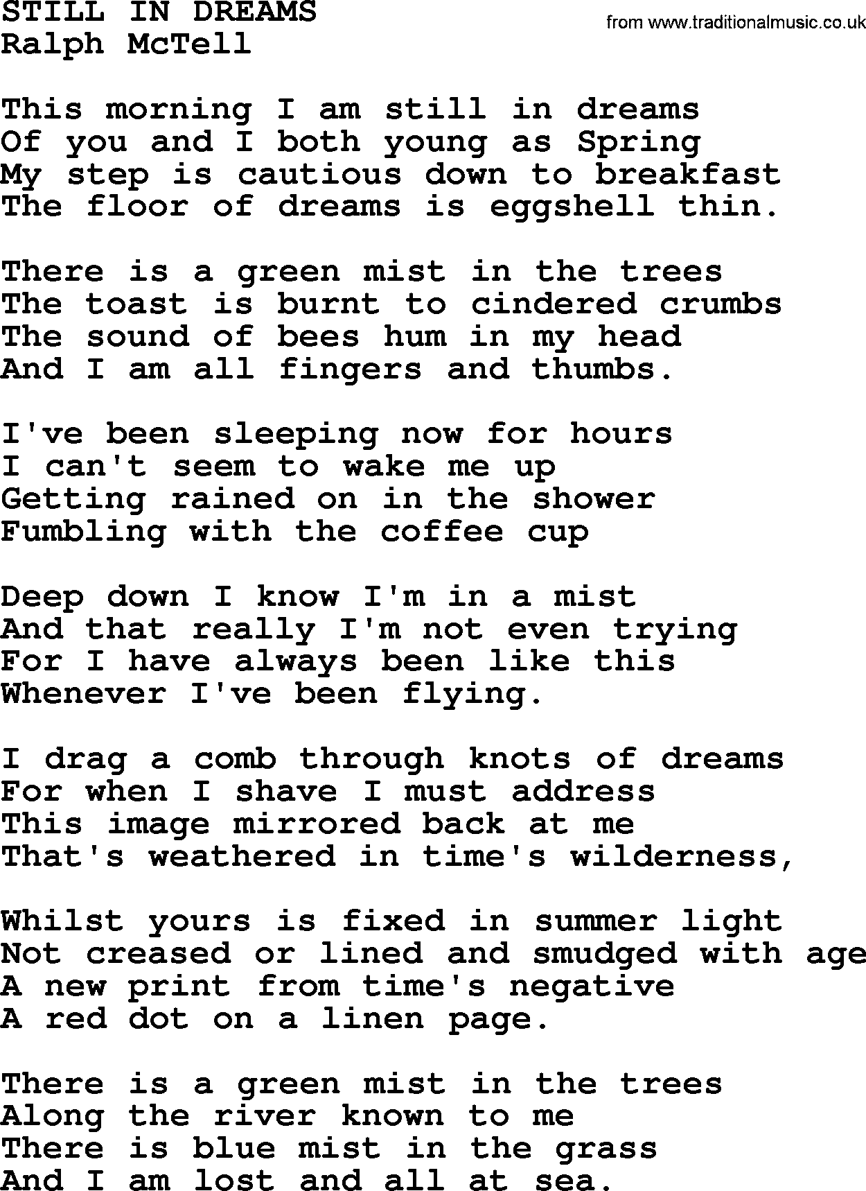 Still In Dreams txt - by Ralph McTell lyrics and chords