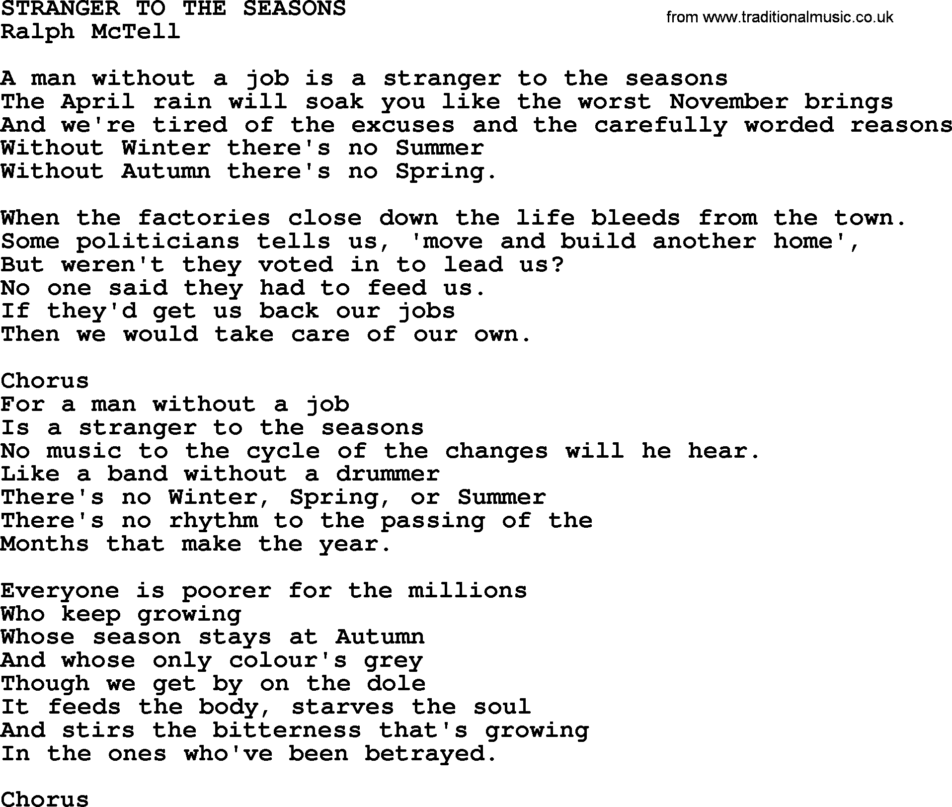 Stranger To The Seasons txt - by Ralph McTell lyrics and chords