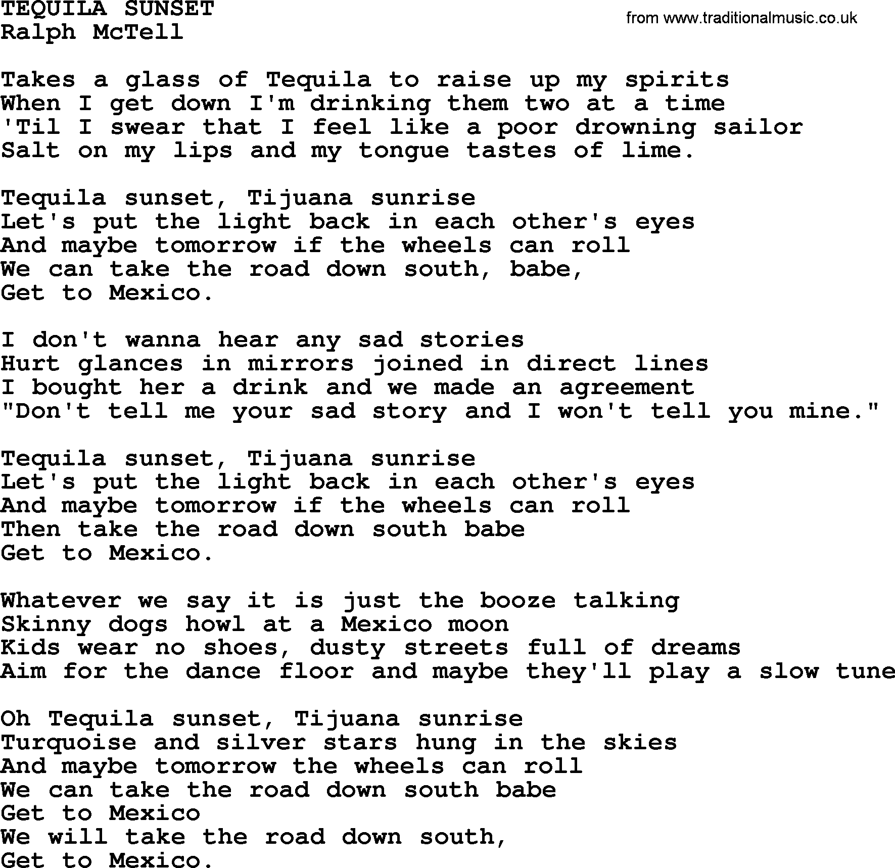 Tequila Sunsettxt By Ralph Mctell Lyrics And Chords