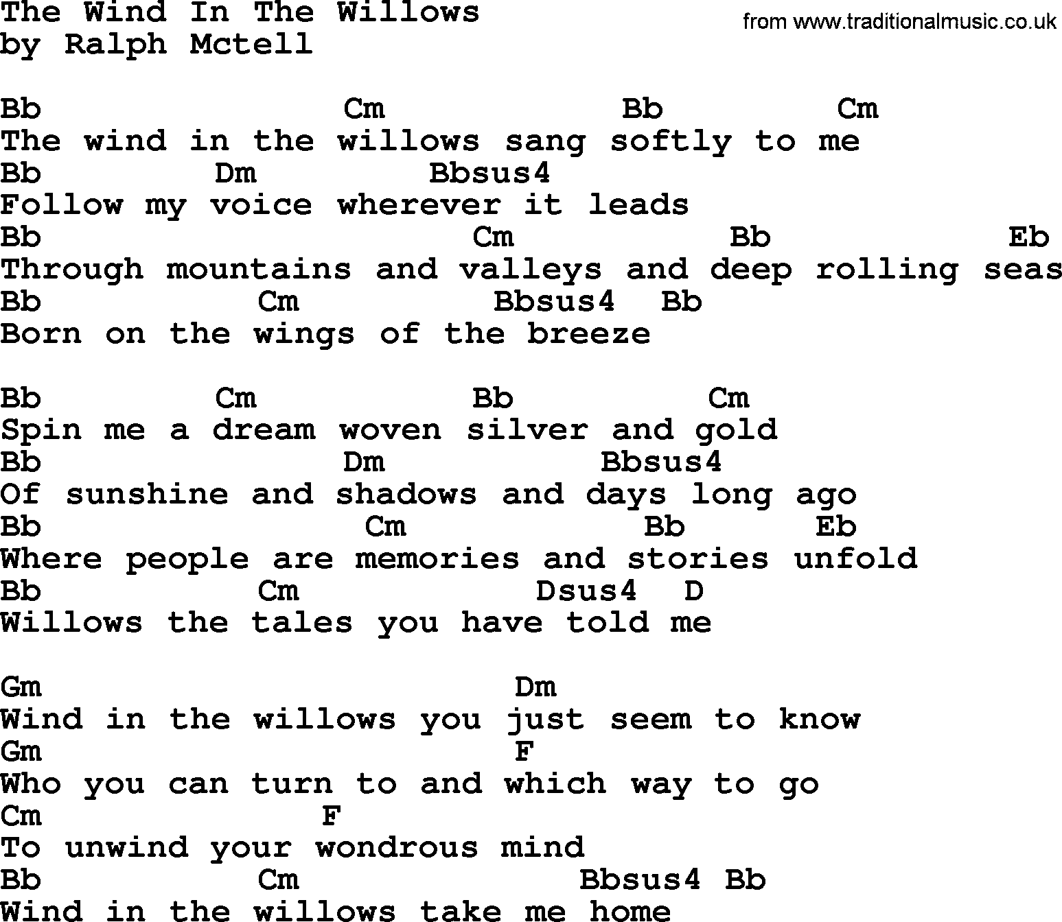 The the willows in pdf wind