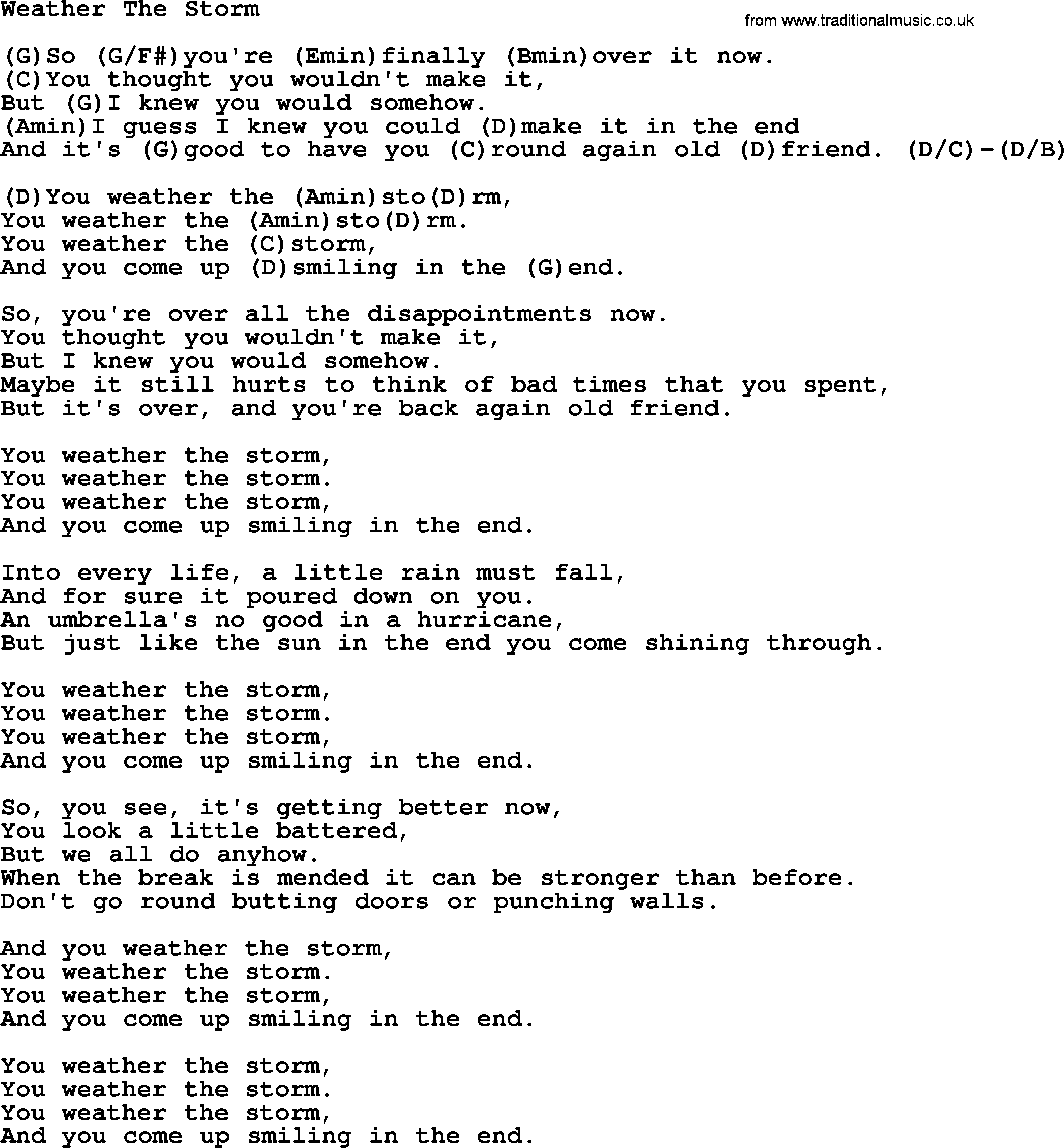 Weather The Storm By Ralph Mctell Lyrics And Chords
