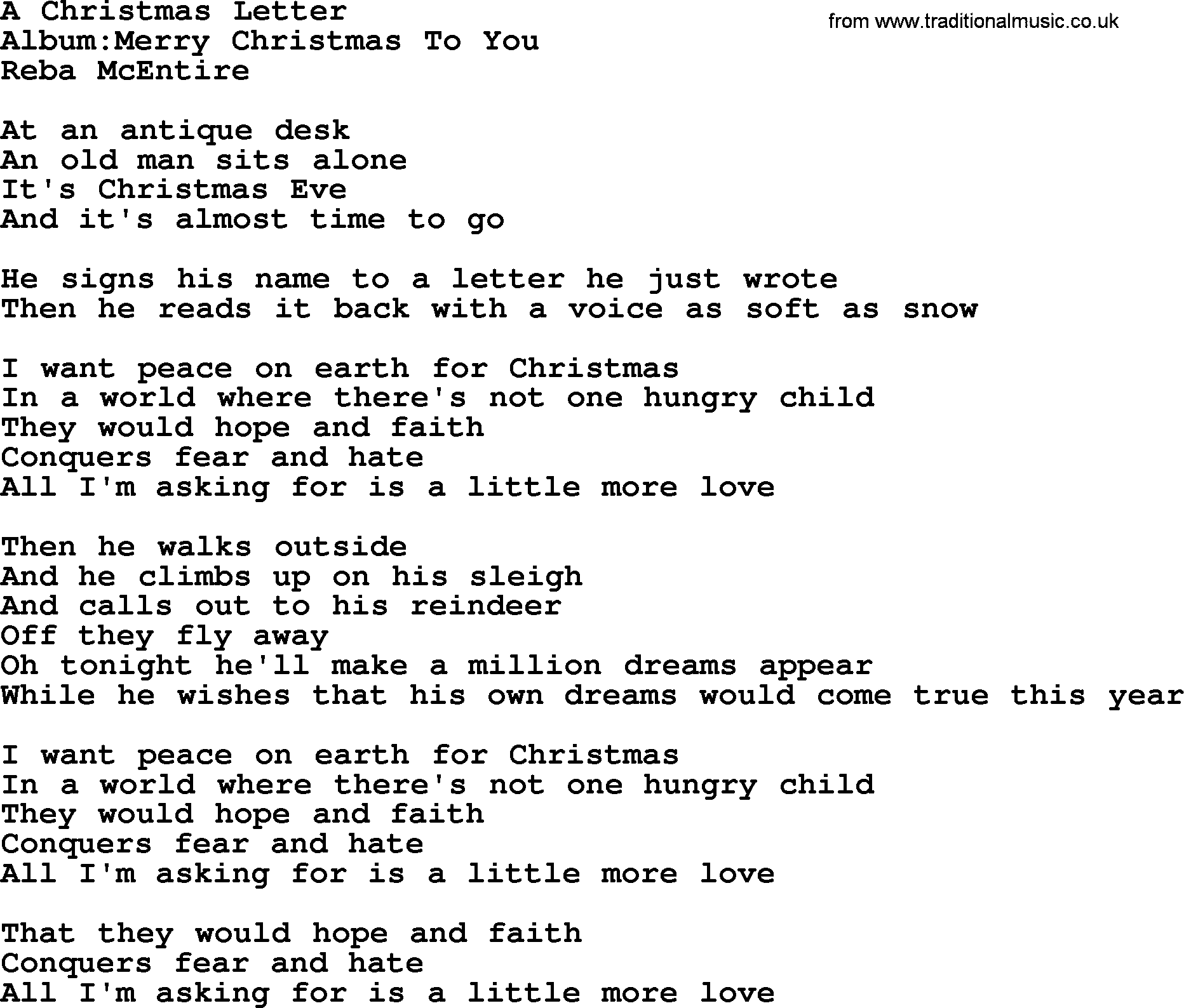 A Christmas Letter, by Reba McEntire - lyrics
