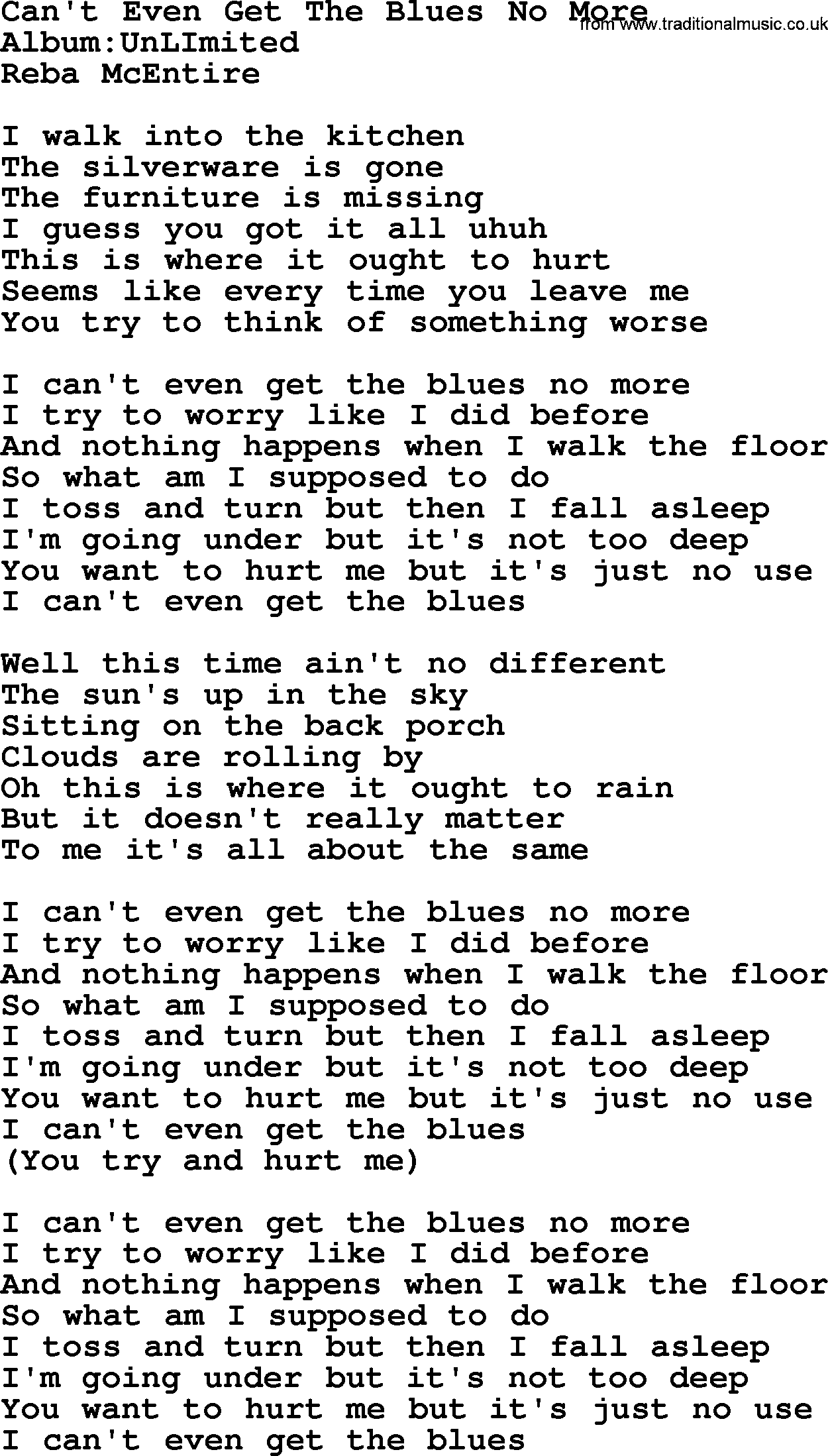 Cant Even Get The Blues No More By Reba Mcentire Lyrics