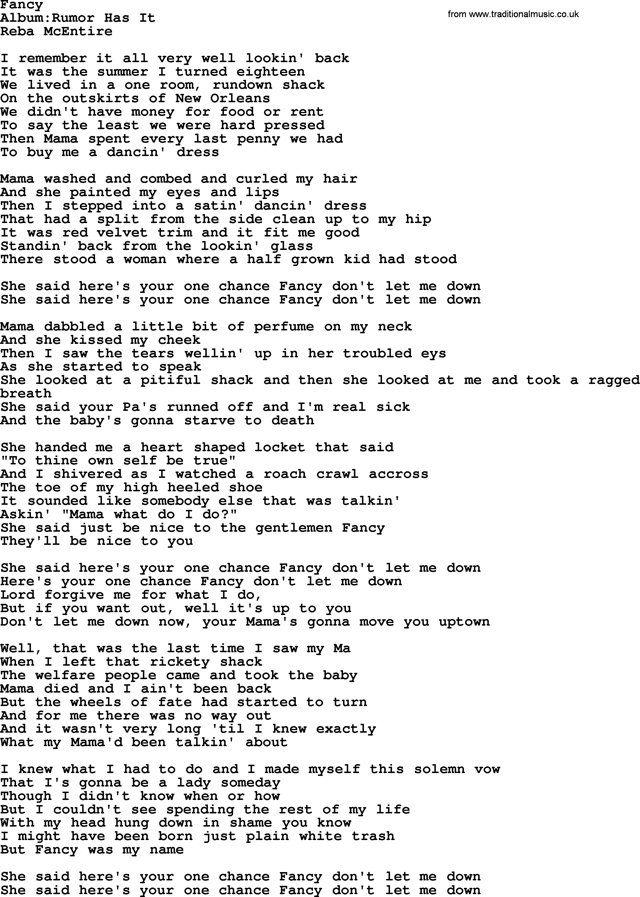 fancy by reba mcentire lyrics