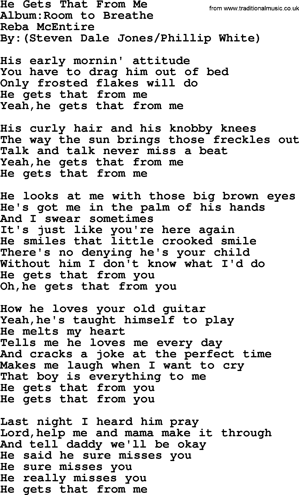 Reba Mcentire Song He Gets That From Me Lyrics