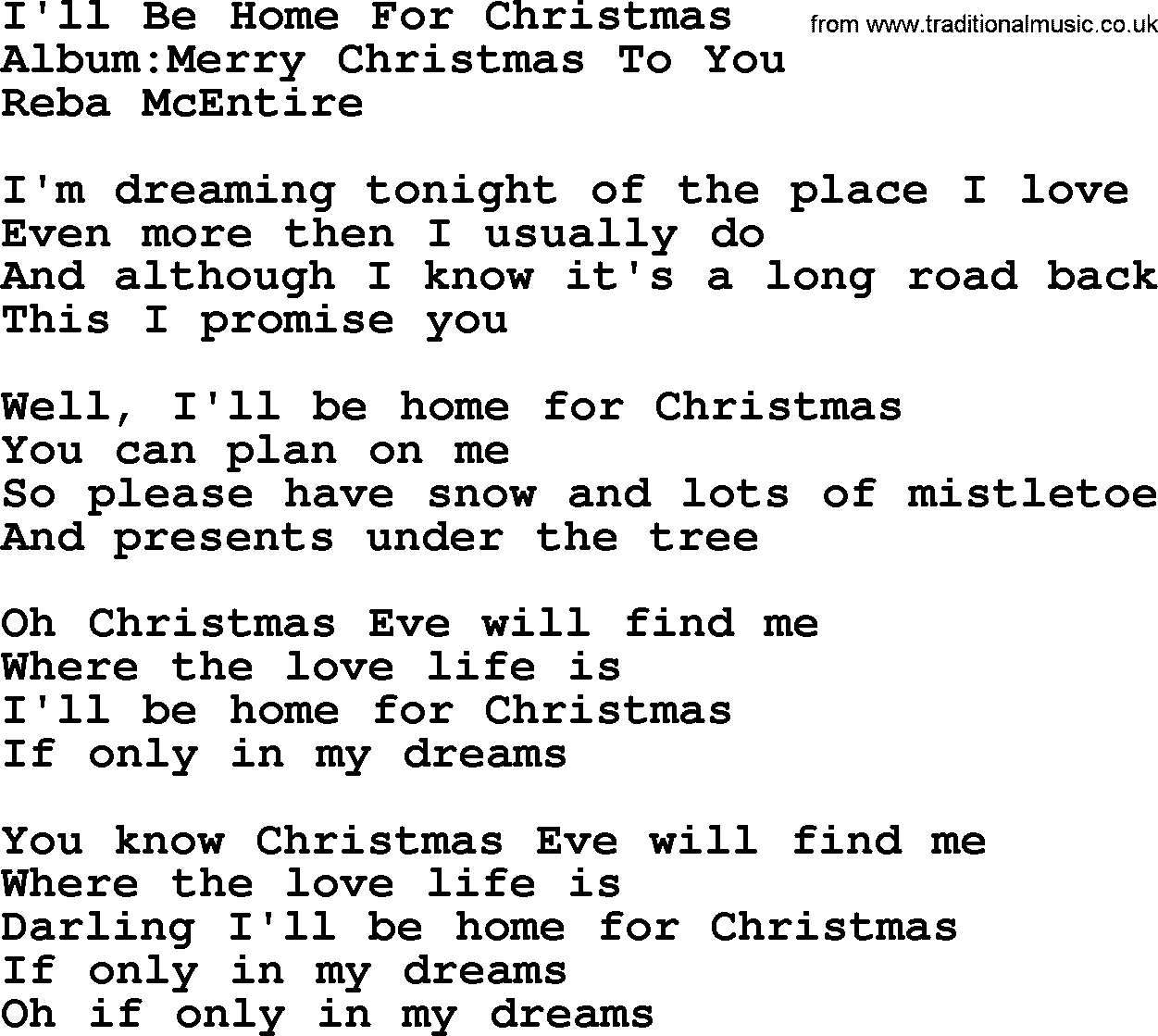 reba mcentire song ill be home for christmas lyrics - Who Wrote I Ll Be Home For Christmas