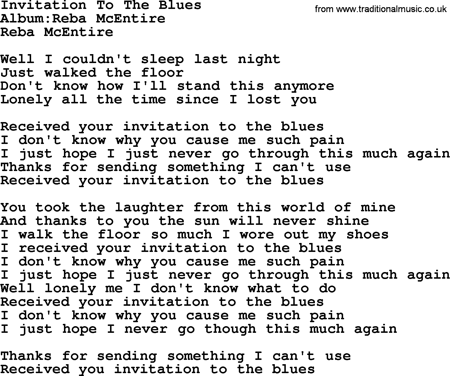 Invitation to the blues by reba mcentire lyrics reba mcentire song invitation to the blues lyrics stopboris Gallery