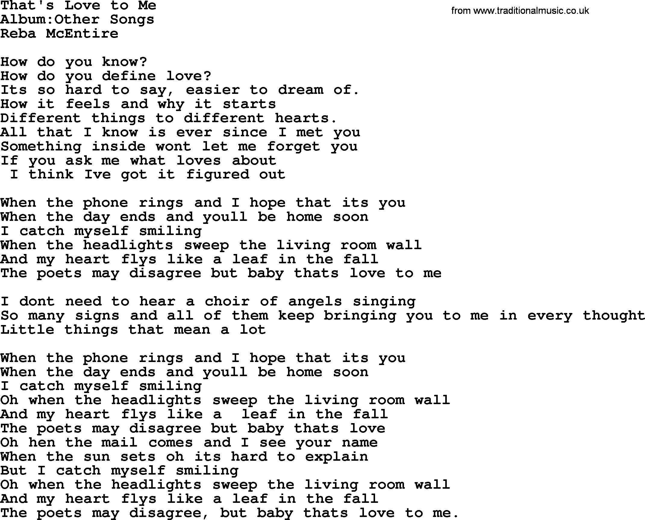 Reba McEntire Song Thats Love To Me Lyrics