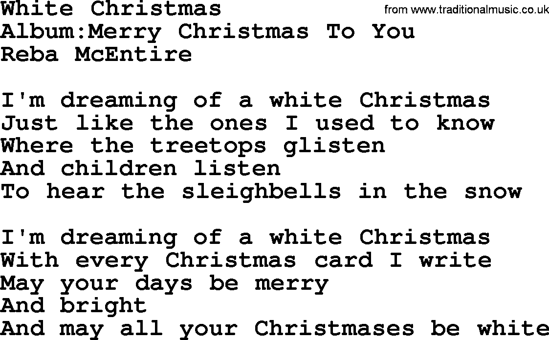 ... Reba McEntire song White Christmas as PDF file (For printing etc