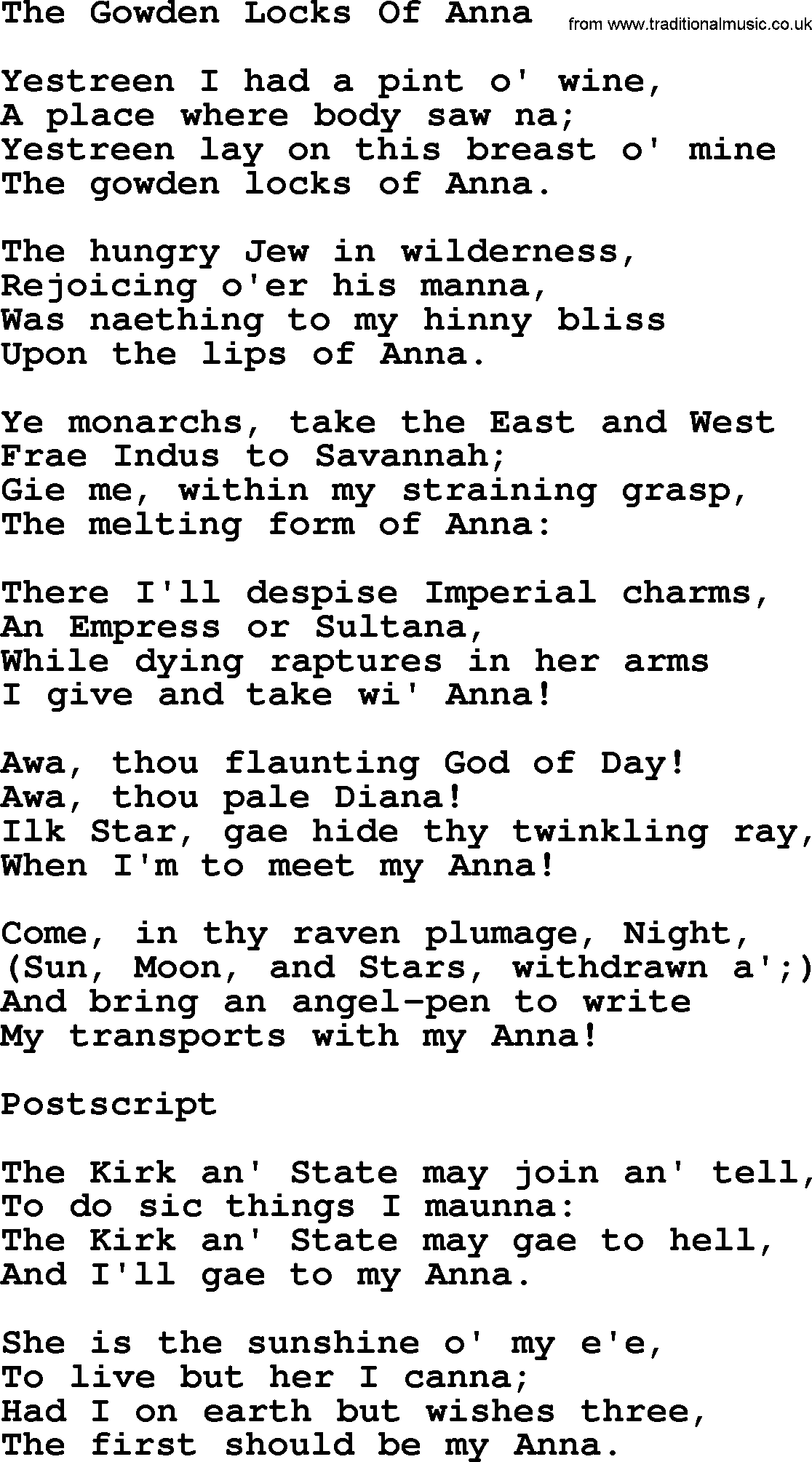 The Gowden Locks Of Anna - Rober Burns Songs and lyrics