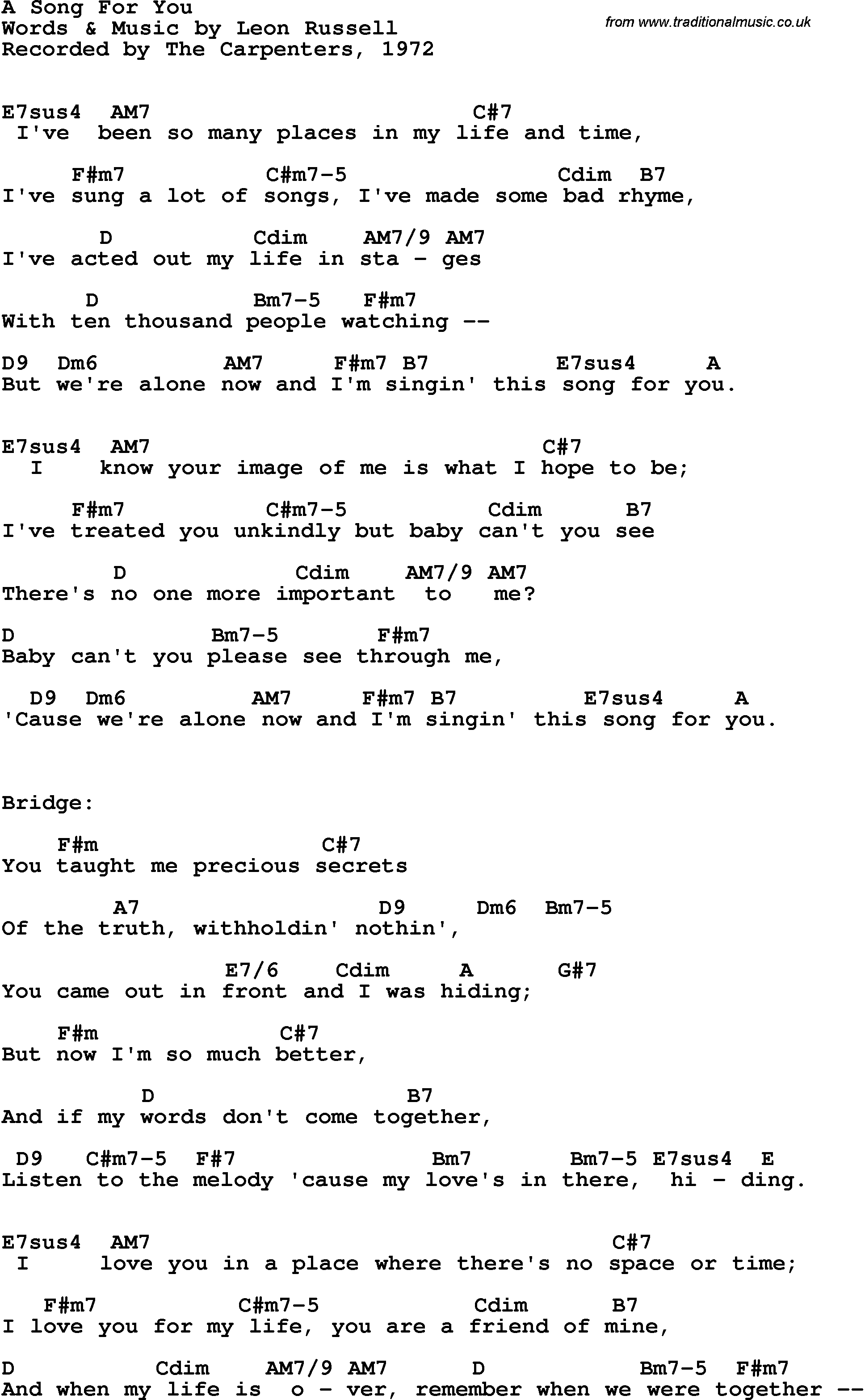 Song Lyrics With Guitar Chords For A Song For You The Carpenters 1972