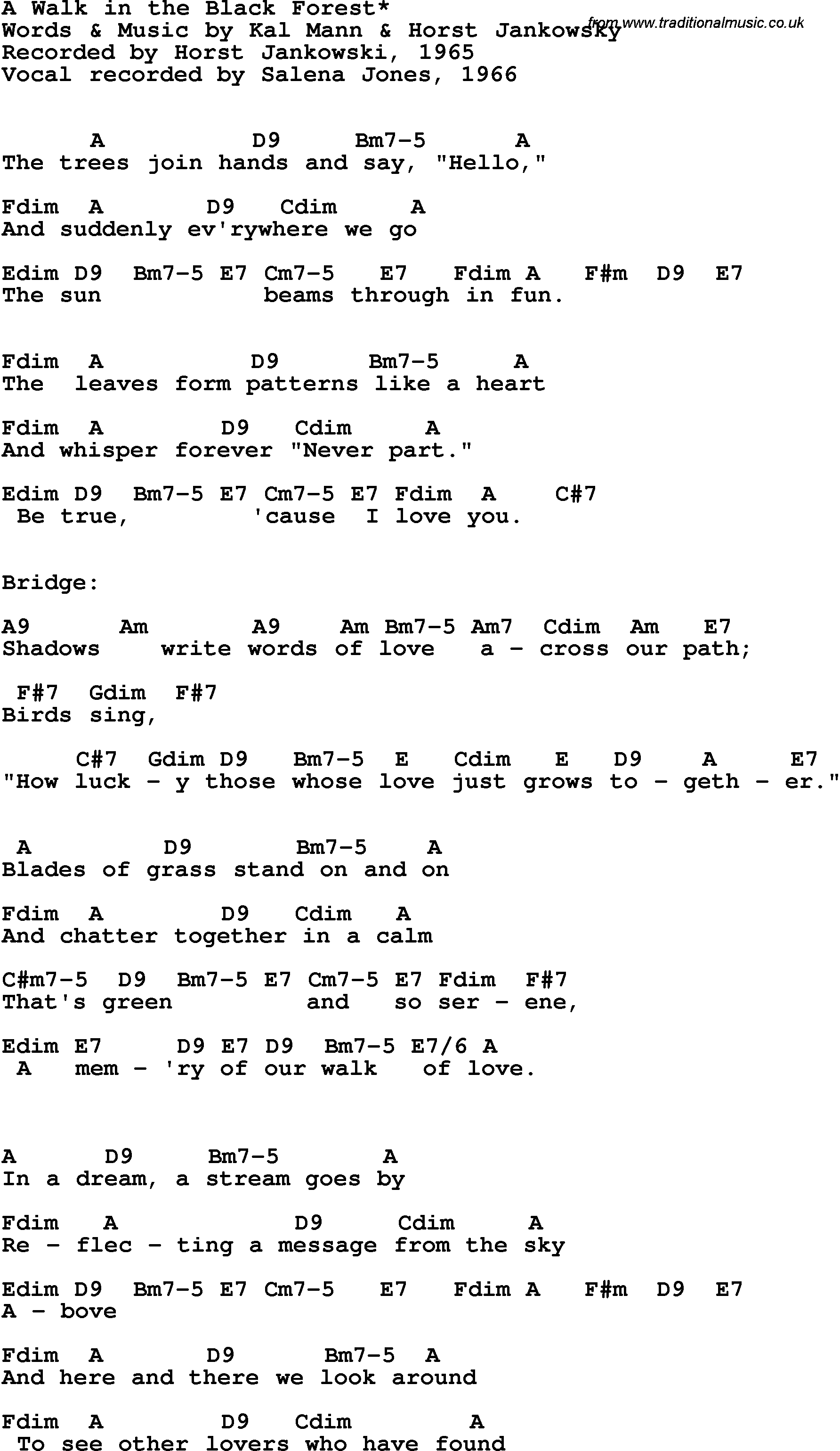 Song Lyrics With Guitar Chords For A Walk In The Black Forest