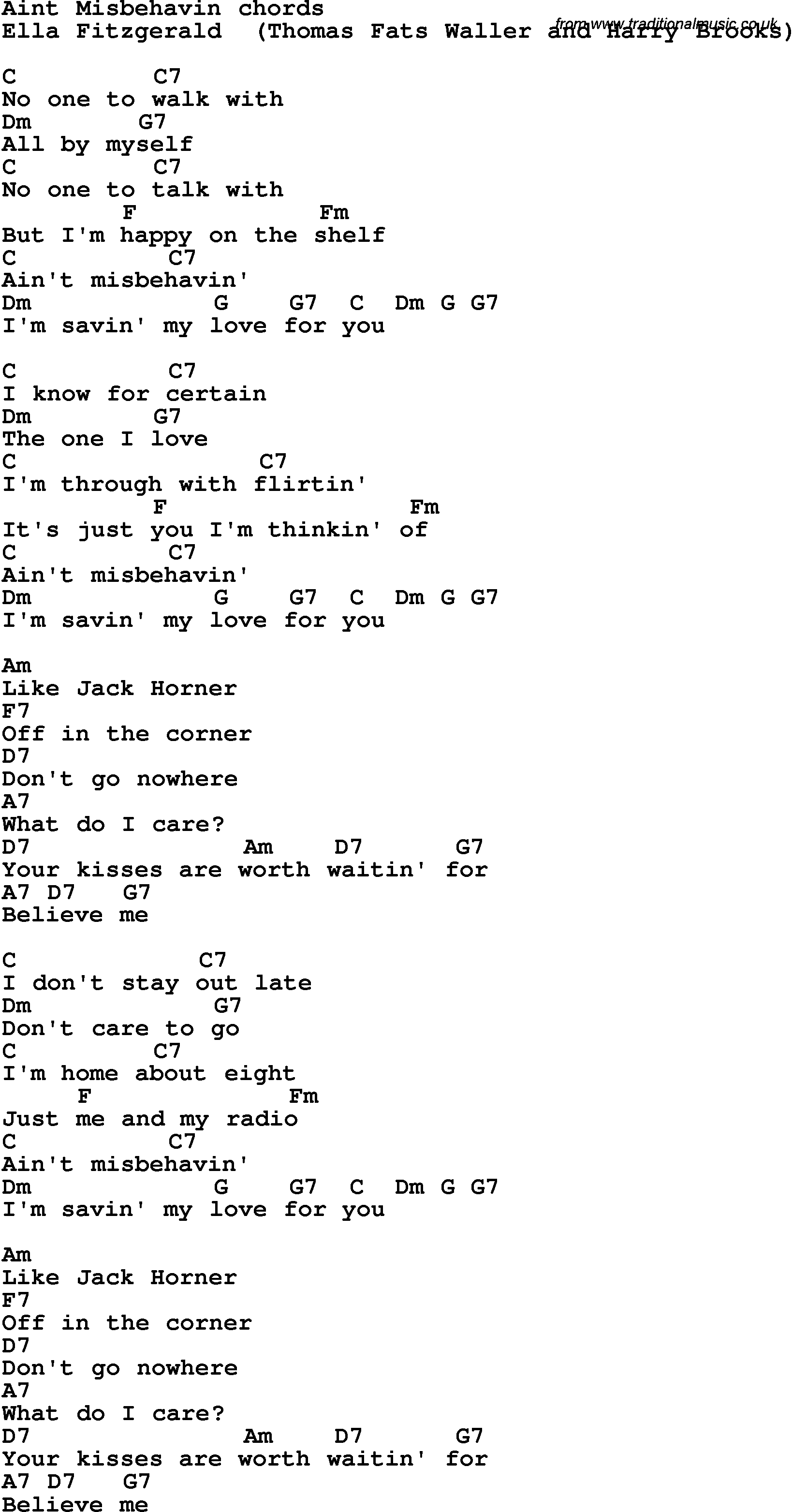 Song lyrics with guitar chords for aint misbehavin ella fitzgerald song lyrics with guitar chords for aint misbehavin ella fitzgerald hexwebz Image collections
