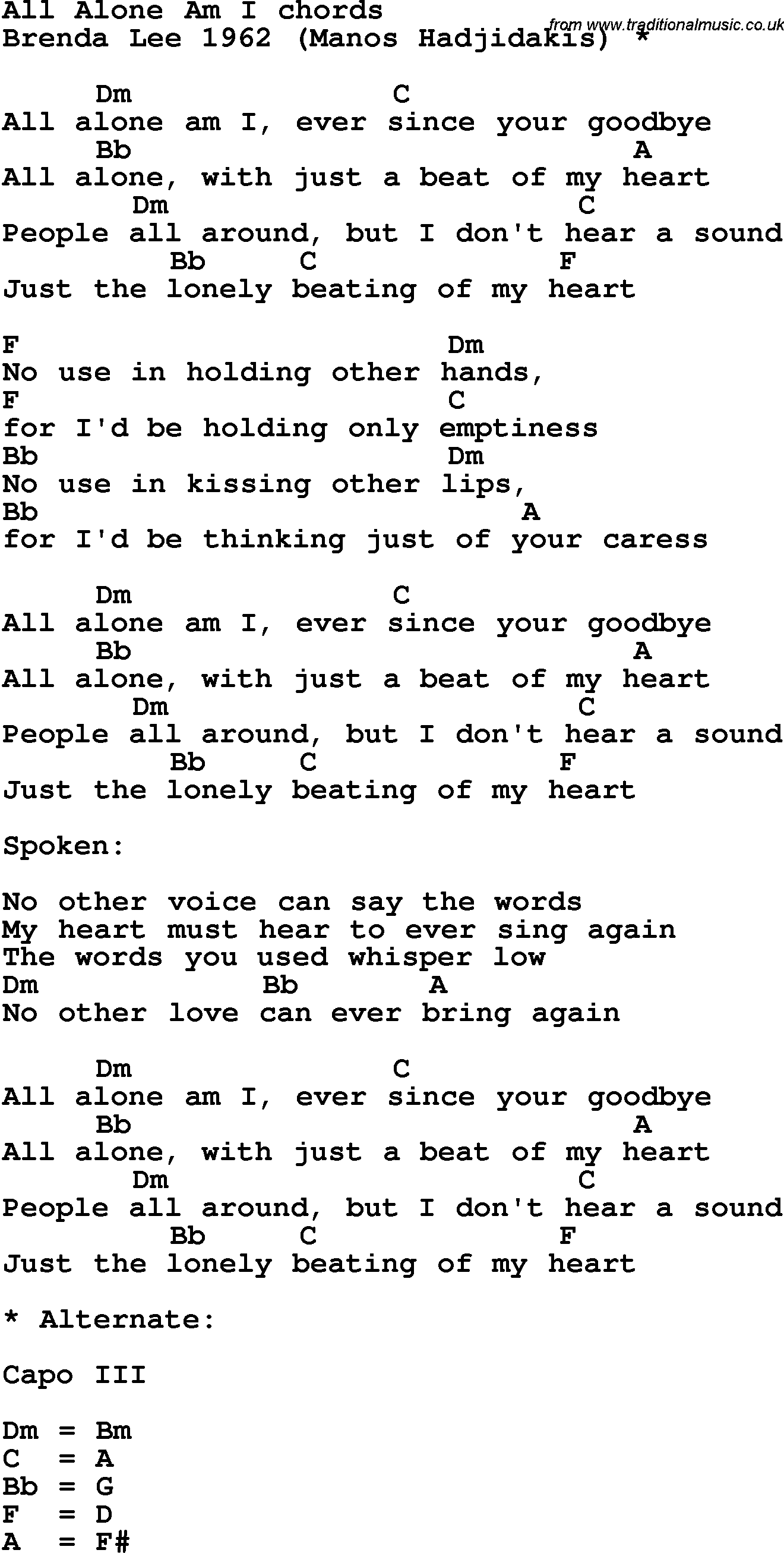 Song Lyrics With Guitar Chords For All Alone Am I