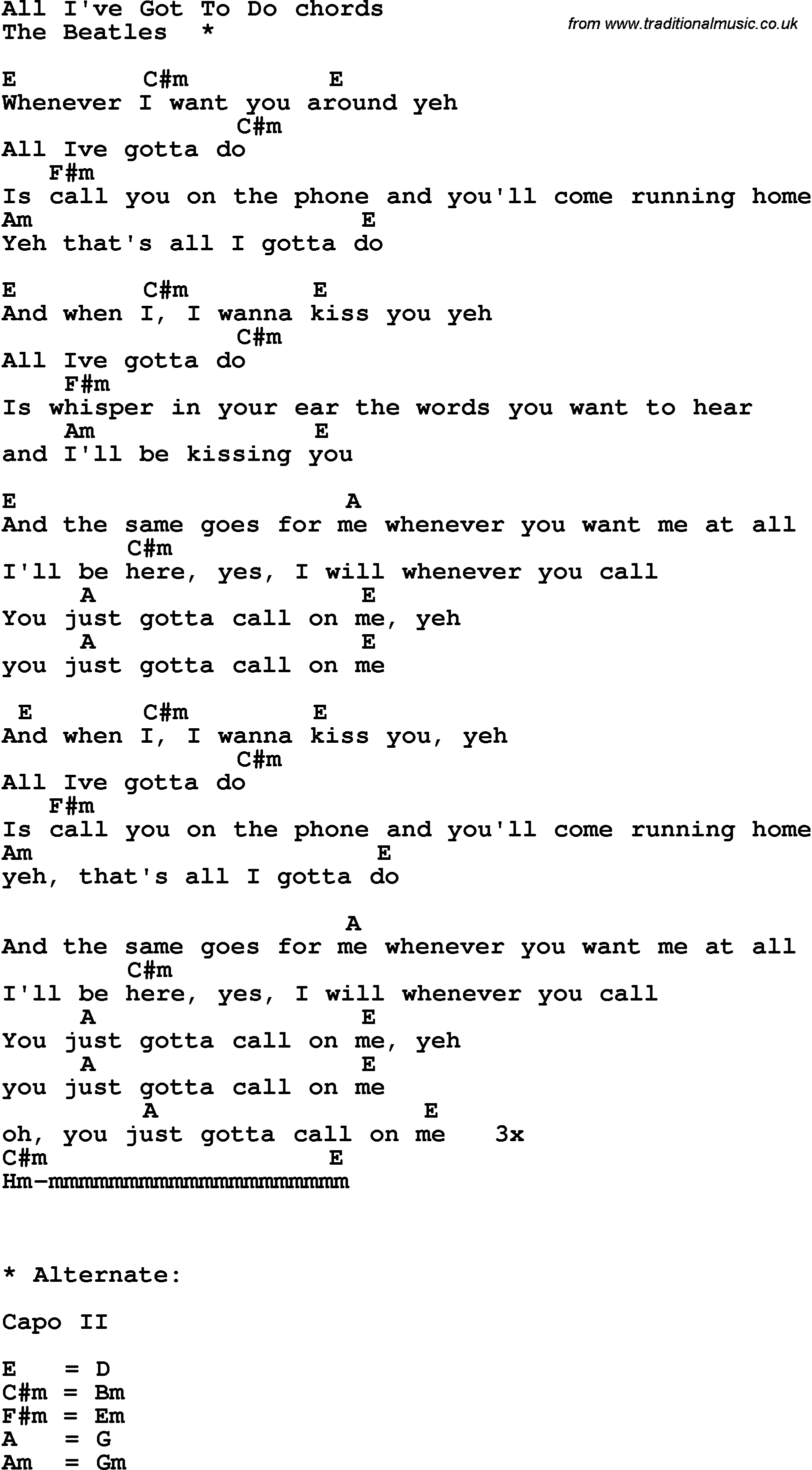 Song Lyrics With Guitar Chords For All I Got To Do