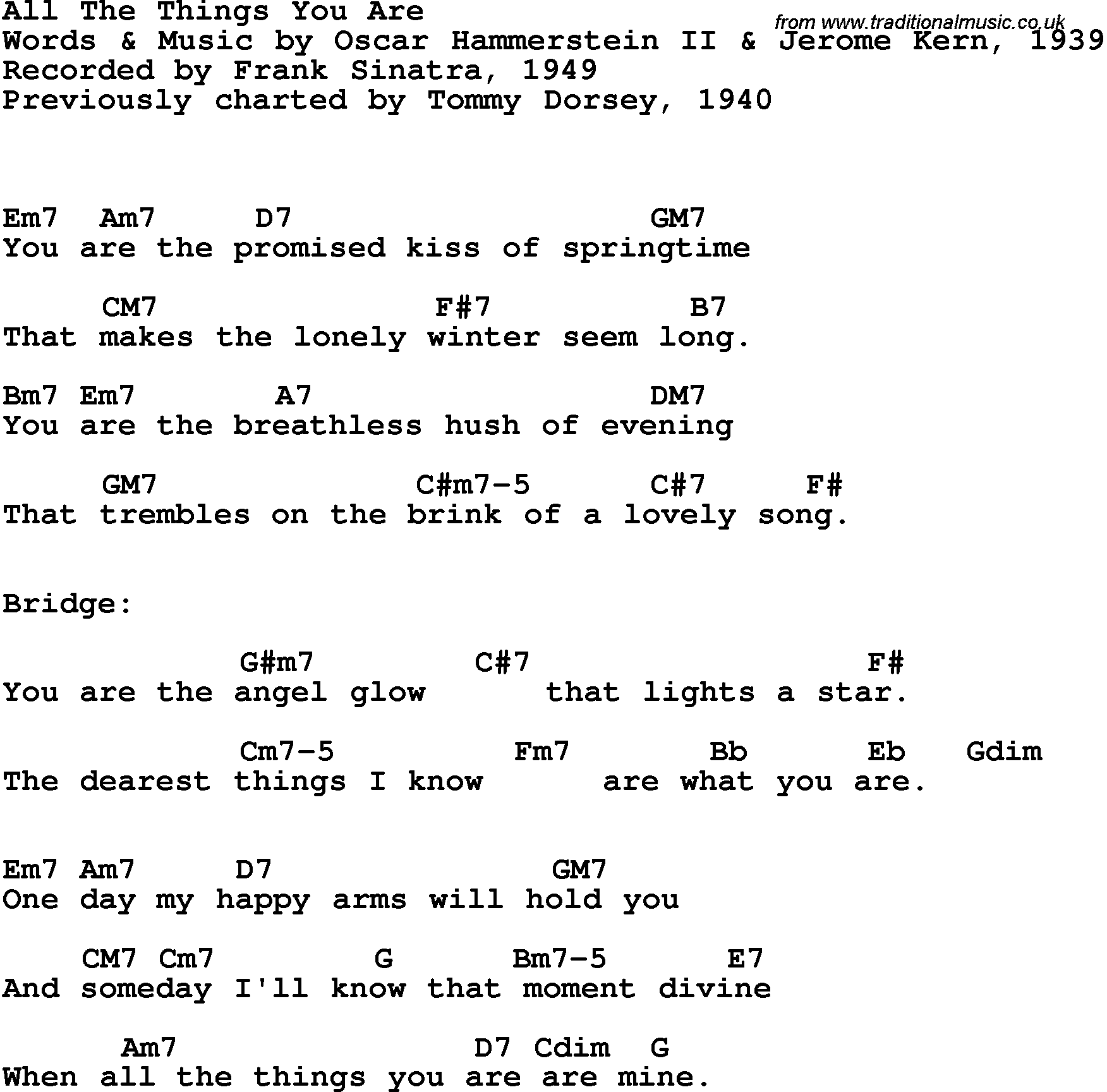 Song lyrics with guitar chords for all the things you are frank song lyrics with guitar chords for all the things you are frank sinatra 1949 hexwebz Choice Image
