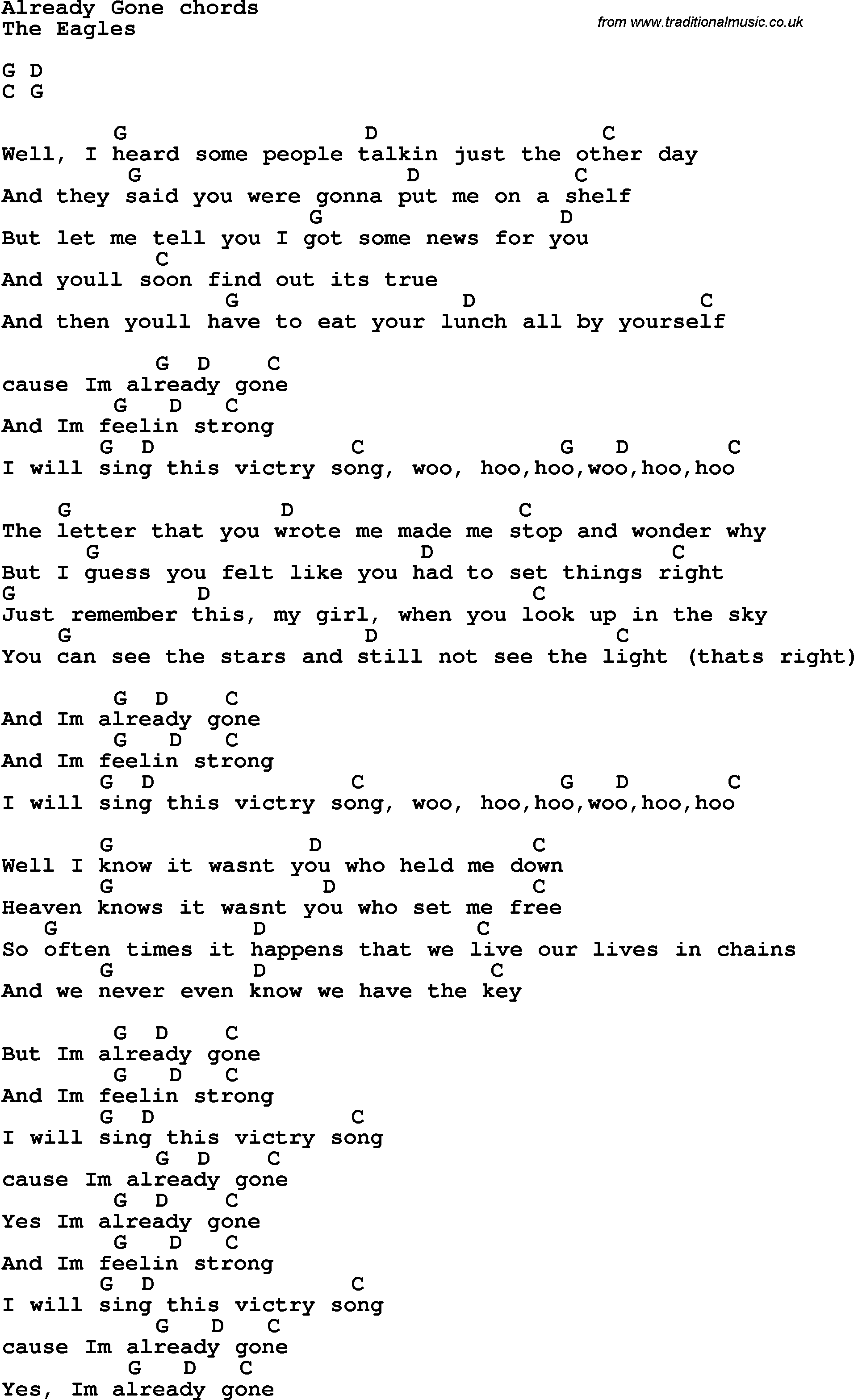 Song lyrics with guitar chords for already gone song lyrics with guitar chords for already gone hexwebz Image collections
