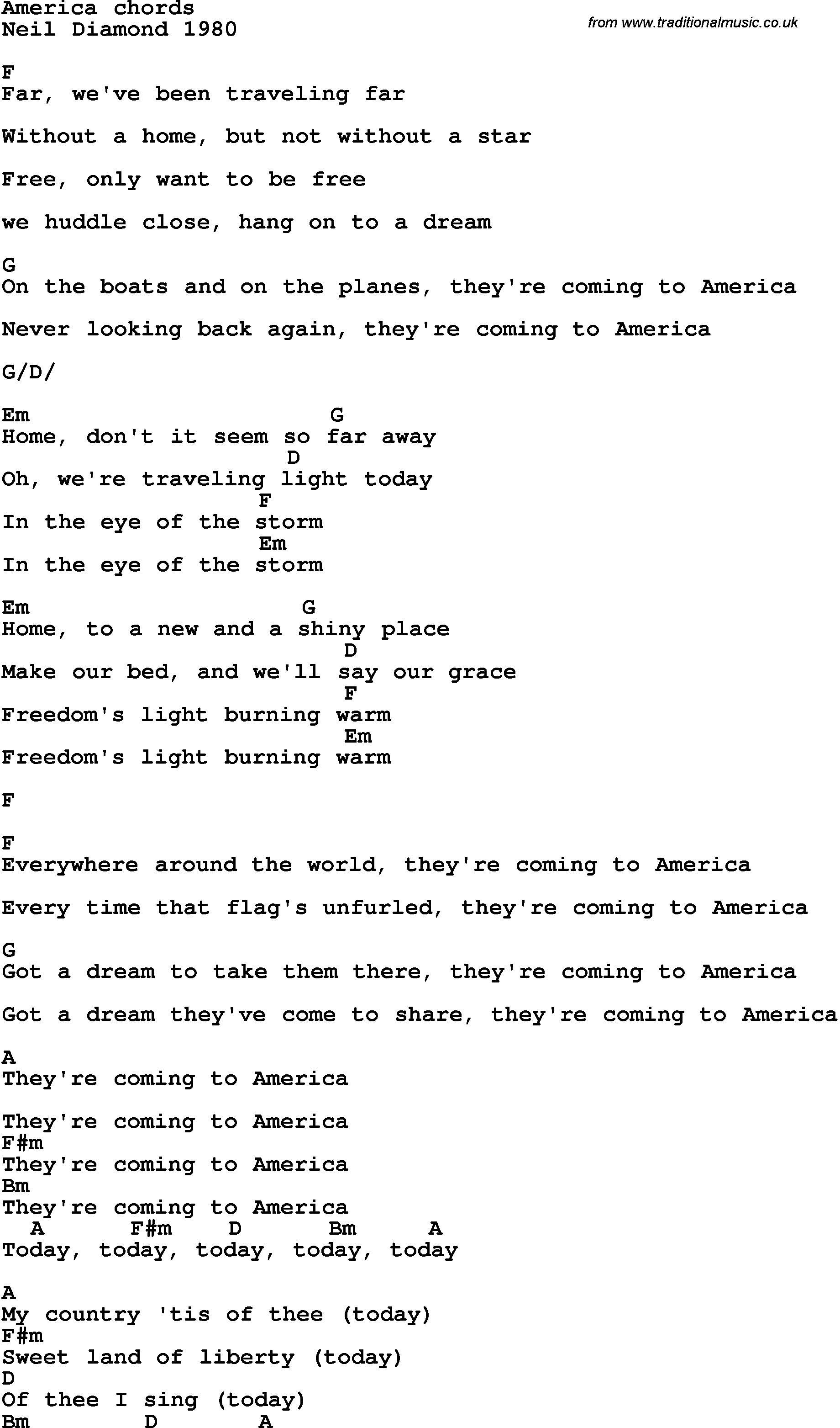 Song Lyrics With Guitar Chords For America Neil Diamond 1980