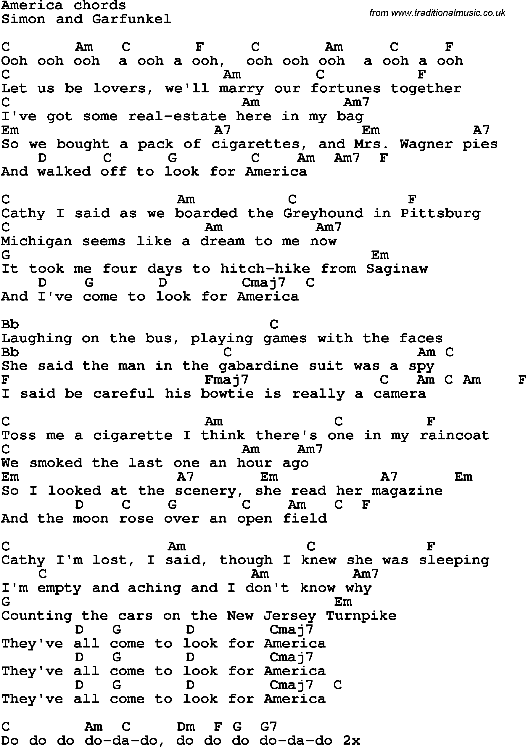Simon and garfunkel guitar chords