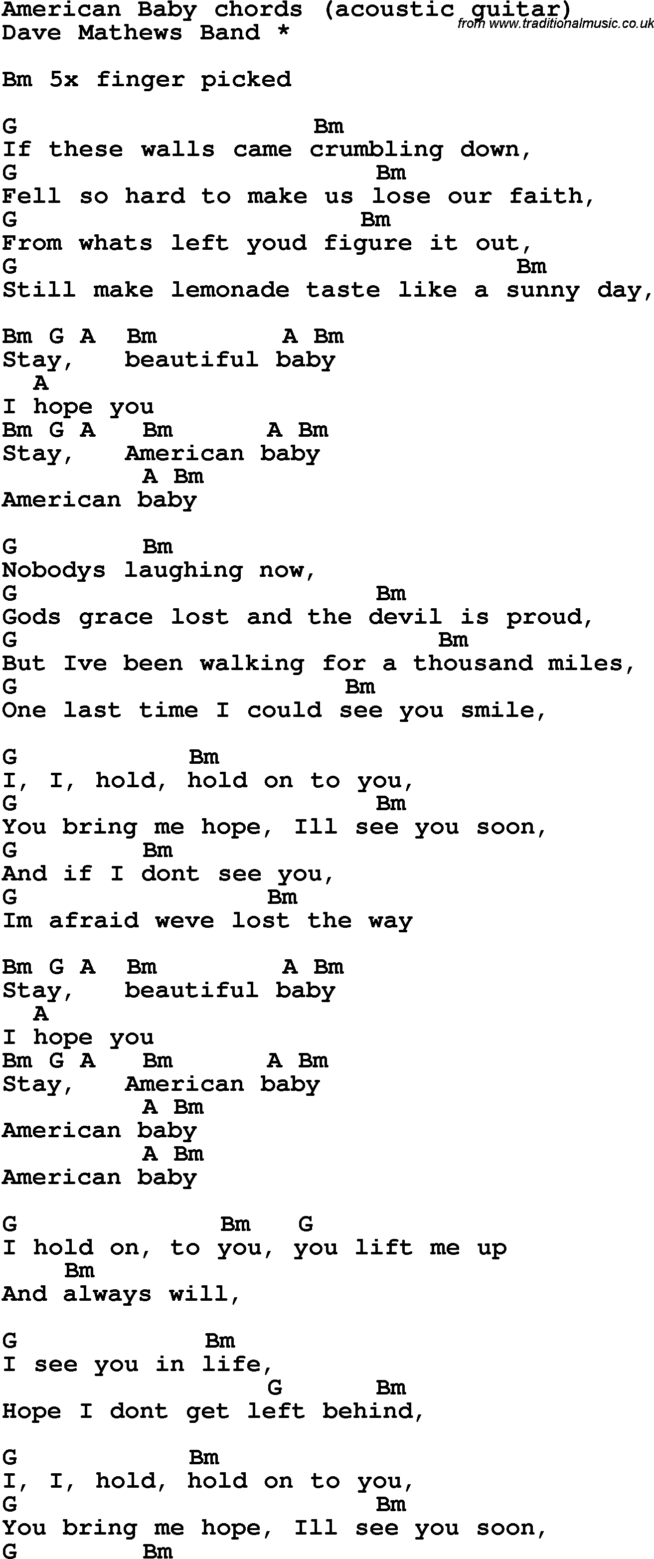 Song Lyrics With Guitar Chords For American Baby