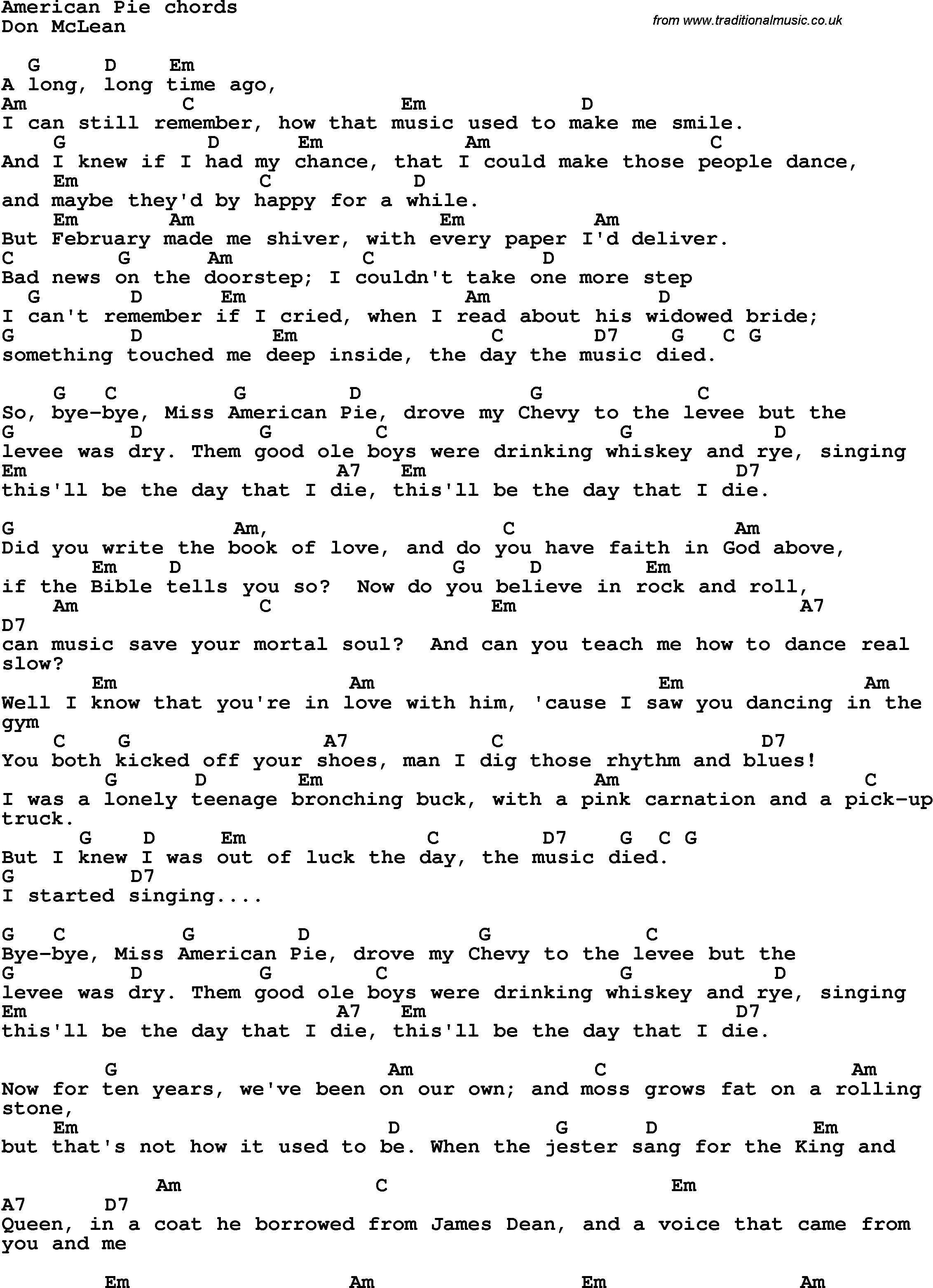 Song lyrics with guitar chords for american pie song lyrics with guitar chords for american pie hexwebz Gallery