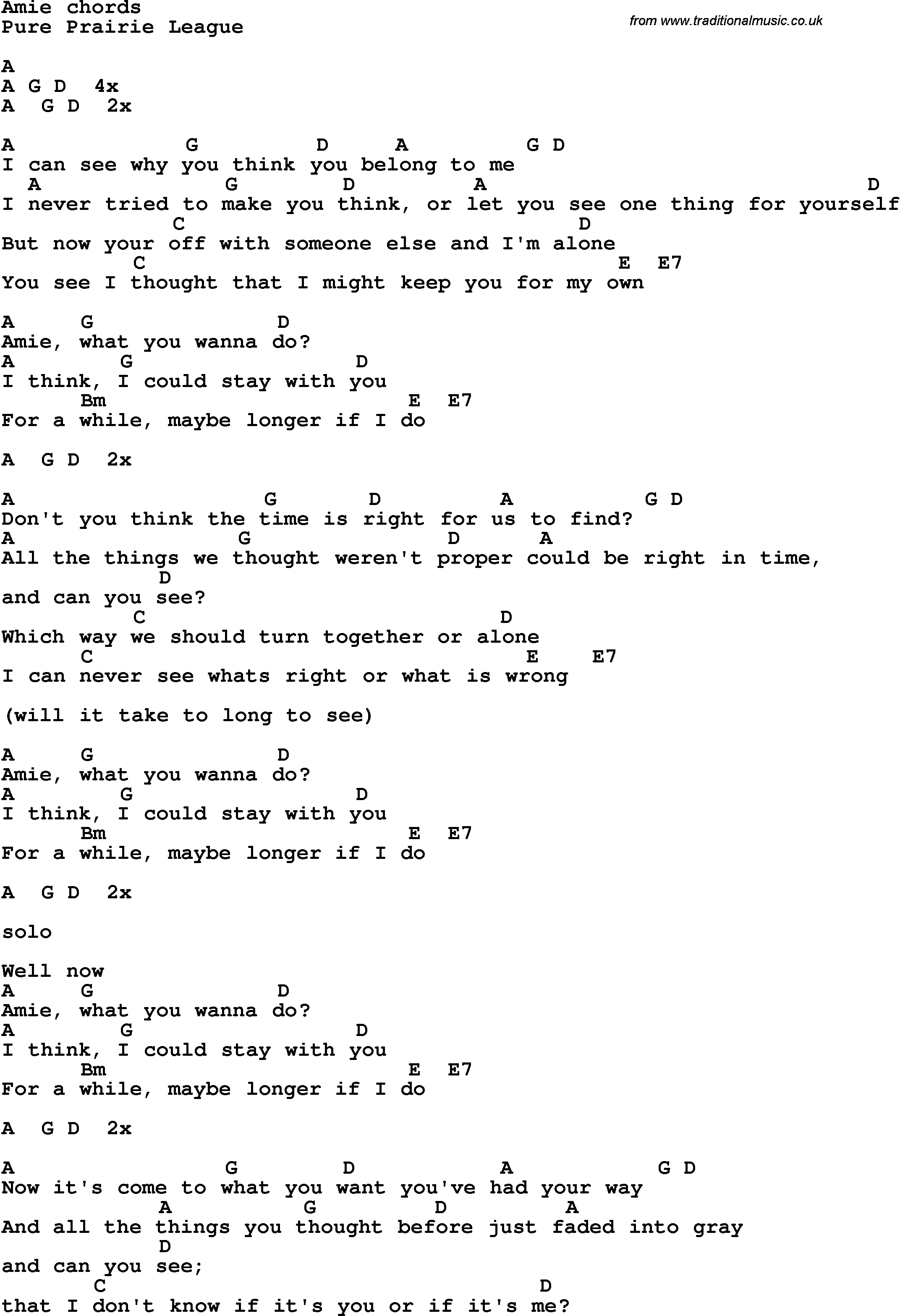 PURE PRAIRIE LEAGUE - AMY LYRICS - SONGLYRICS.com