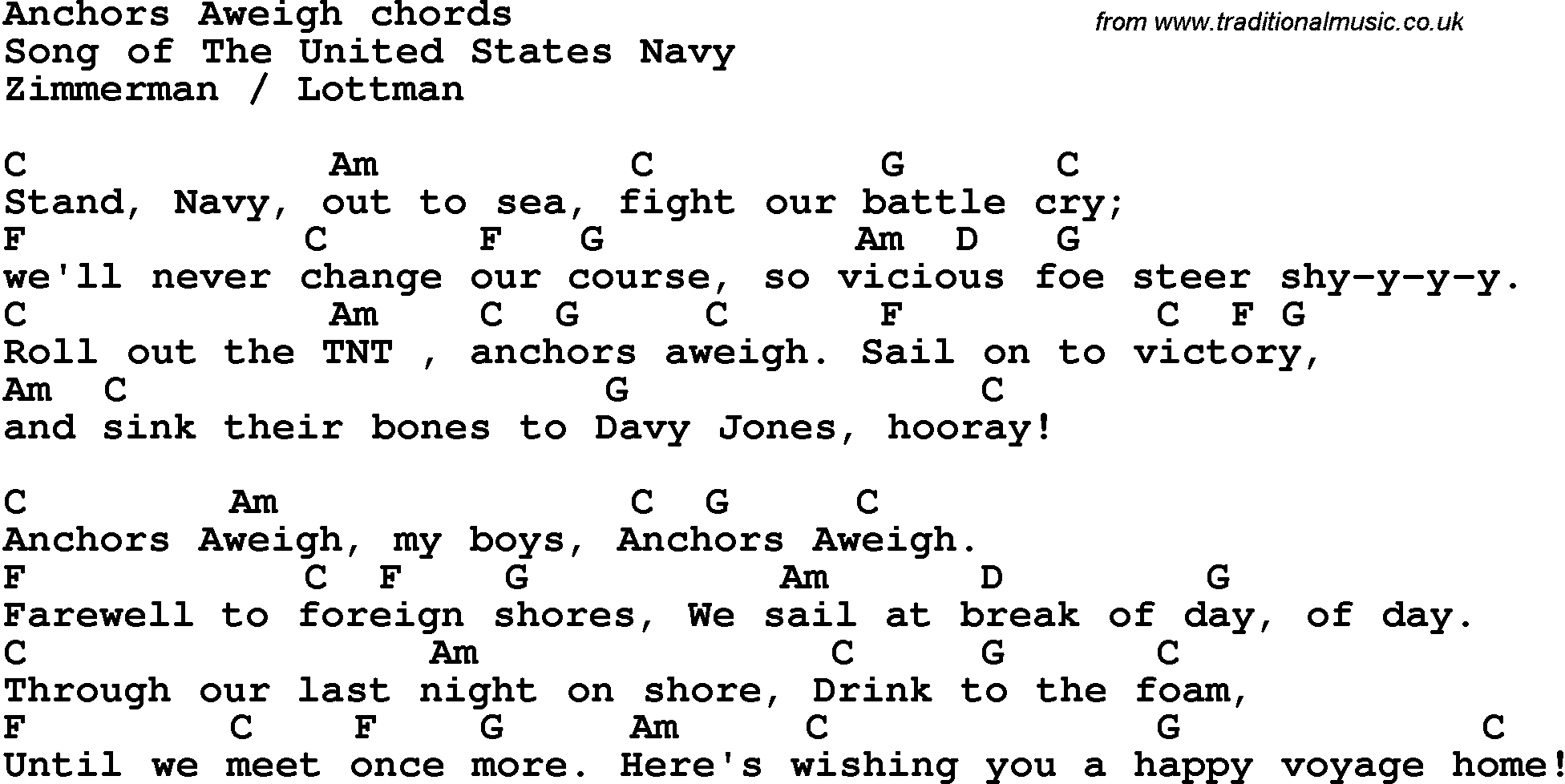 Song Lyrics With Guitar Chords For Anchors Aweigh