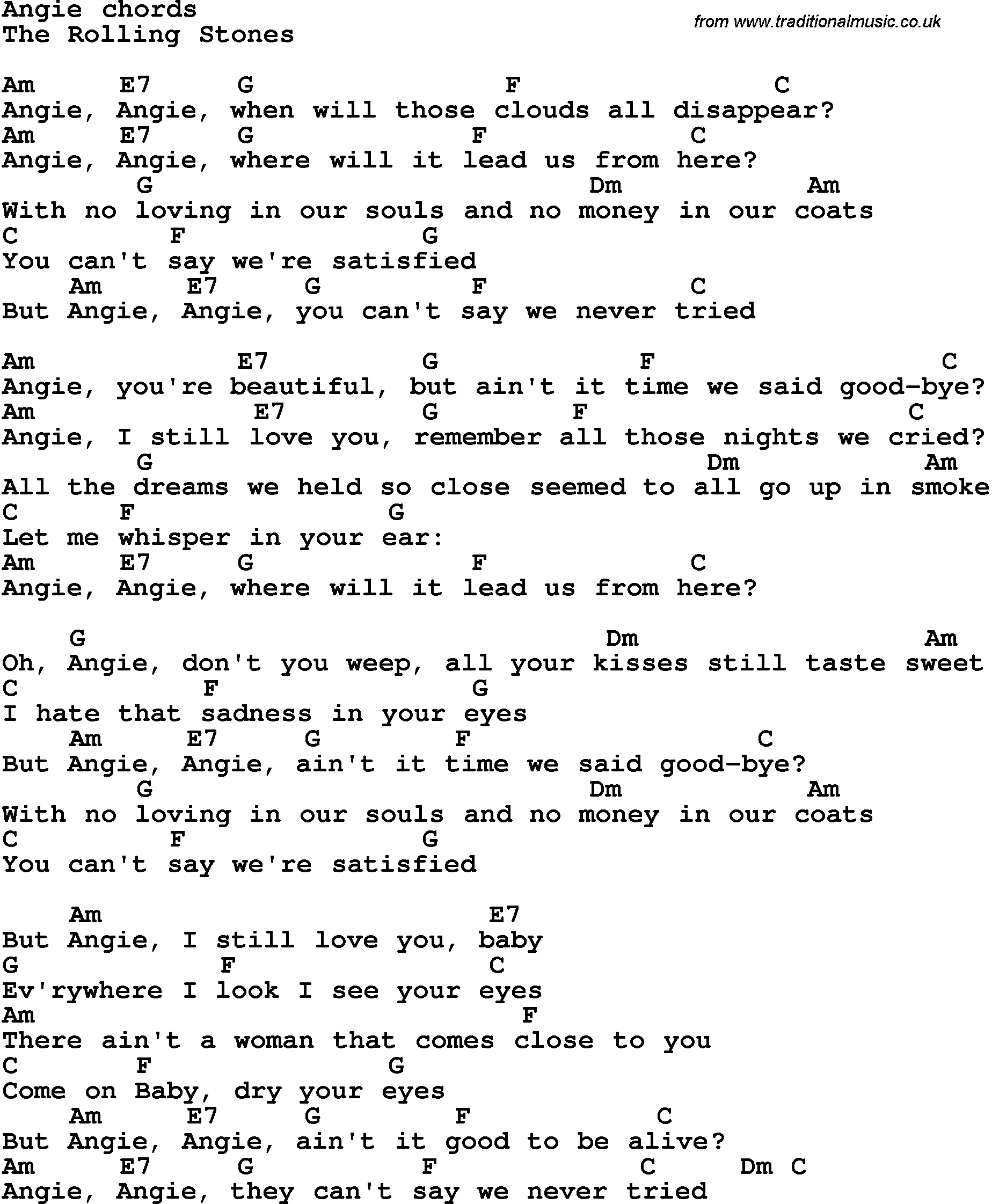 Song Lyrics With Guitar Chords For Angie The Rolling Stones