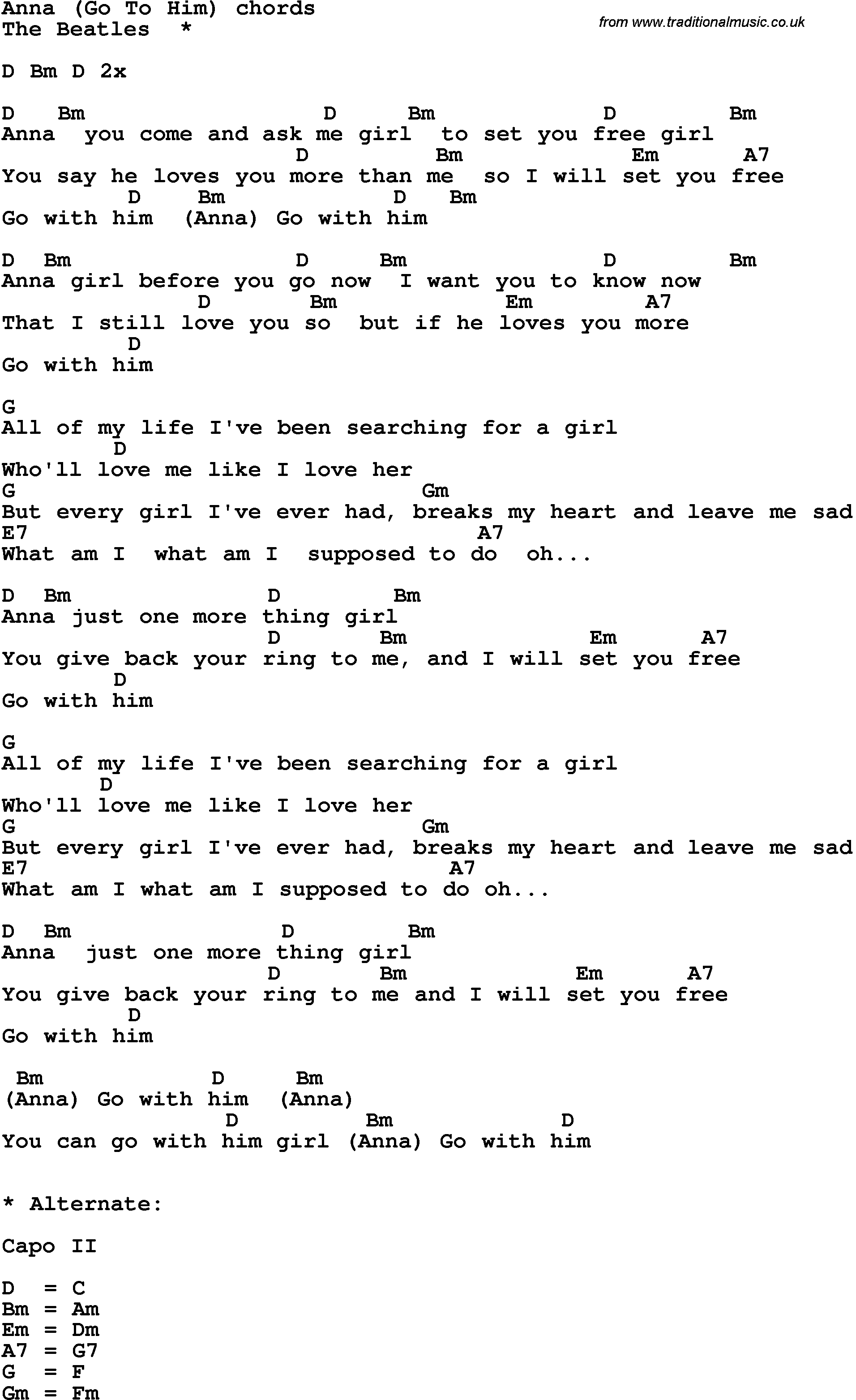 Song lyrics with guitar chords for anna the beatles song lyrics with guitar chords for anna the beatles hexwebz Images