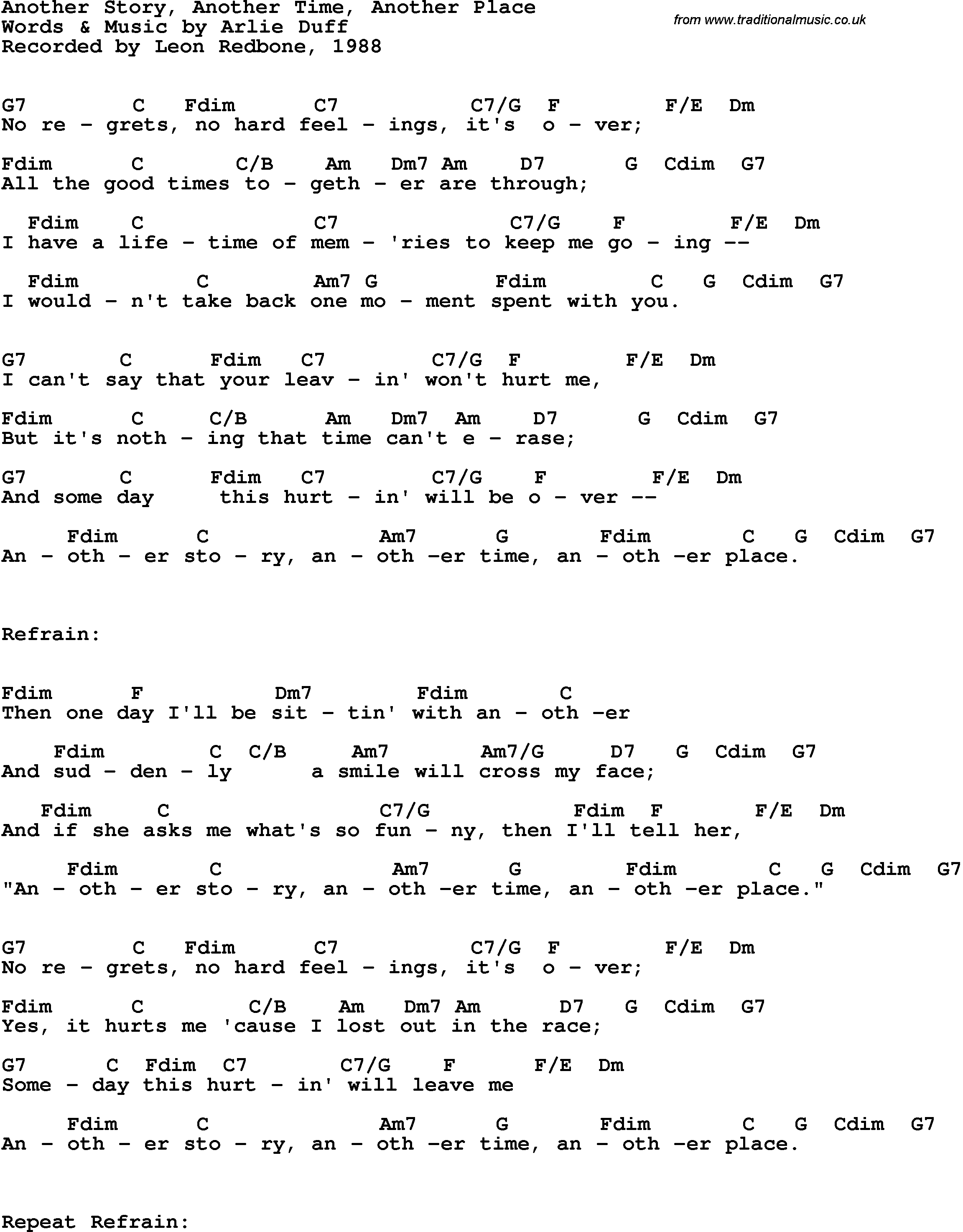 Song lyrics with guitar chords for another story another for Songs from 1988 uk