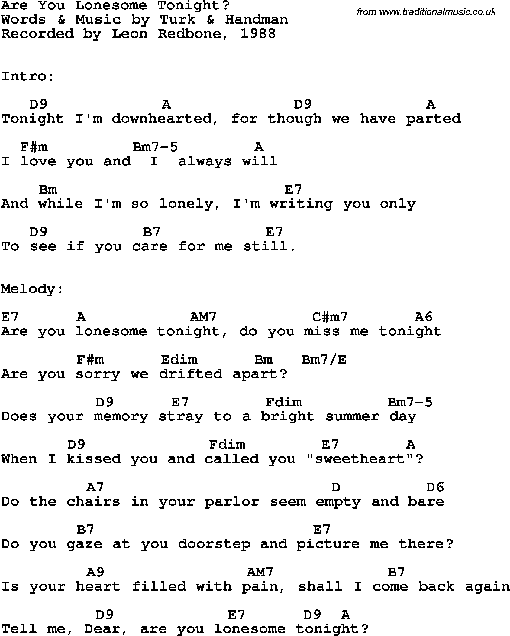 Song lyrics with guitar chords for are you lonesome for Songs from 1988 uk