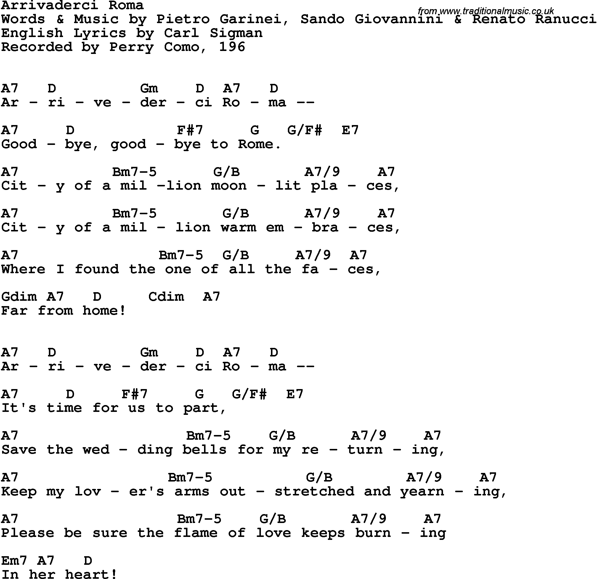 Song Lyrics With Guitar Chords For Arrivederci Roma Perry Como 1966