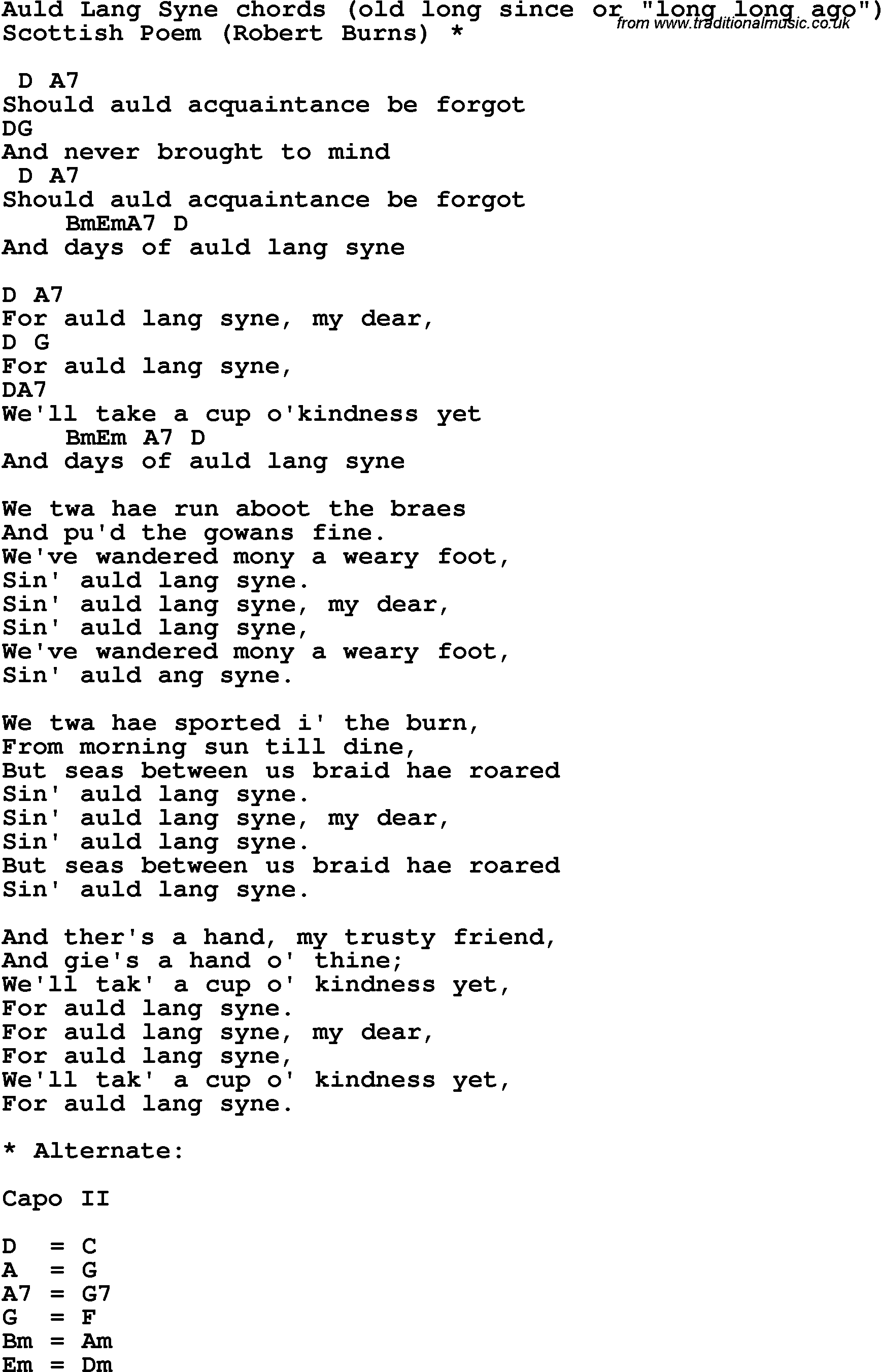 Song lyrics with guitar chords for Auld Lang Syne