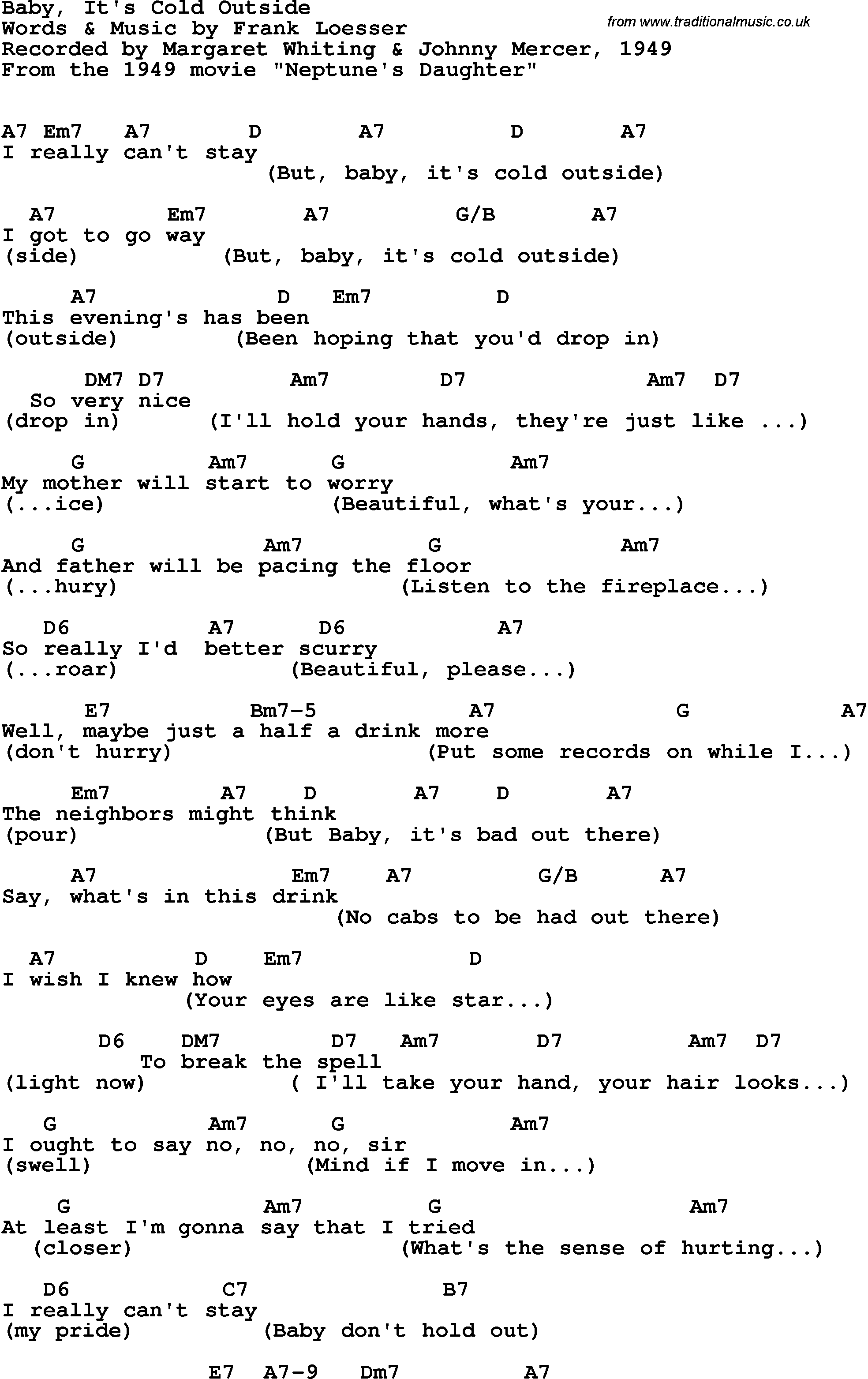 Song lyrics with guitar chords for Baby It's Cold Outside ...