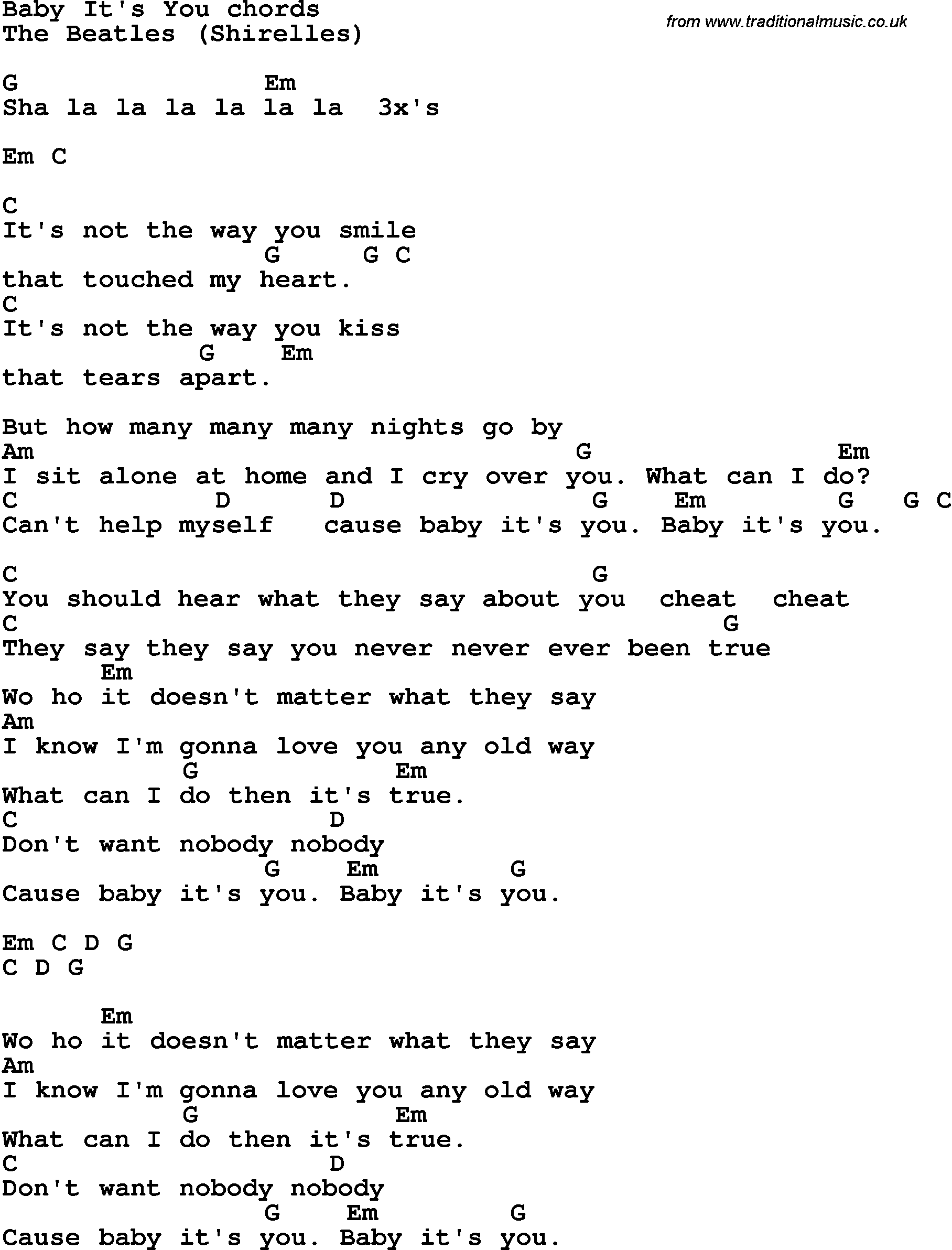 Song lyrics with guitar chords for baby its you the beatles song lyrics with guitar chords for baby its you the beatles hexwebz Images
