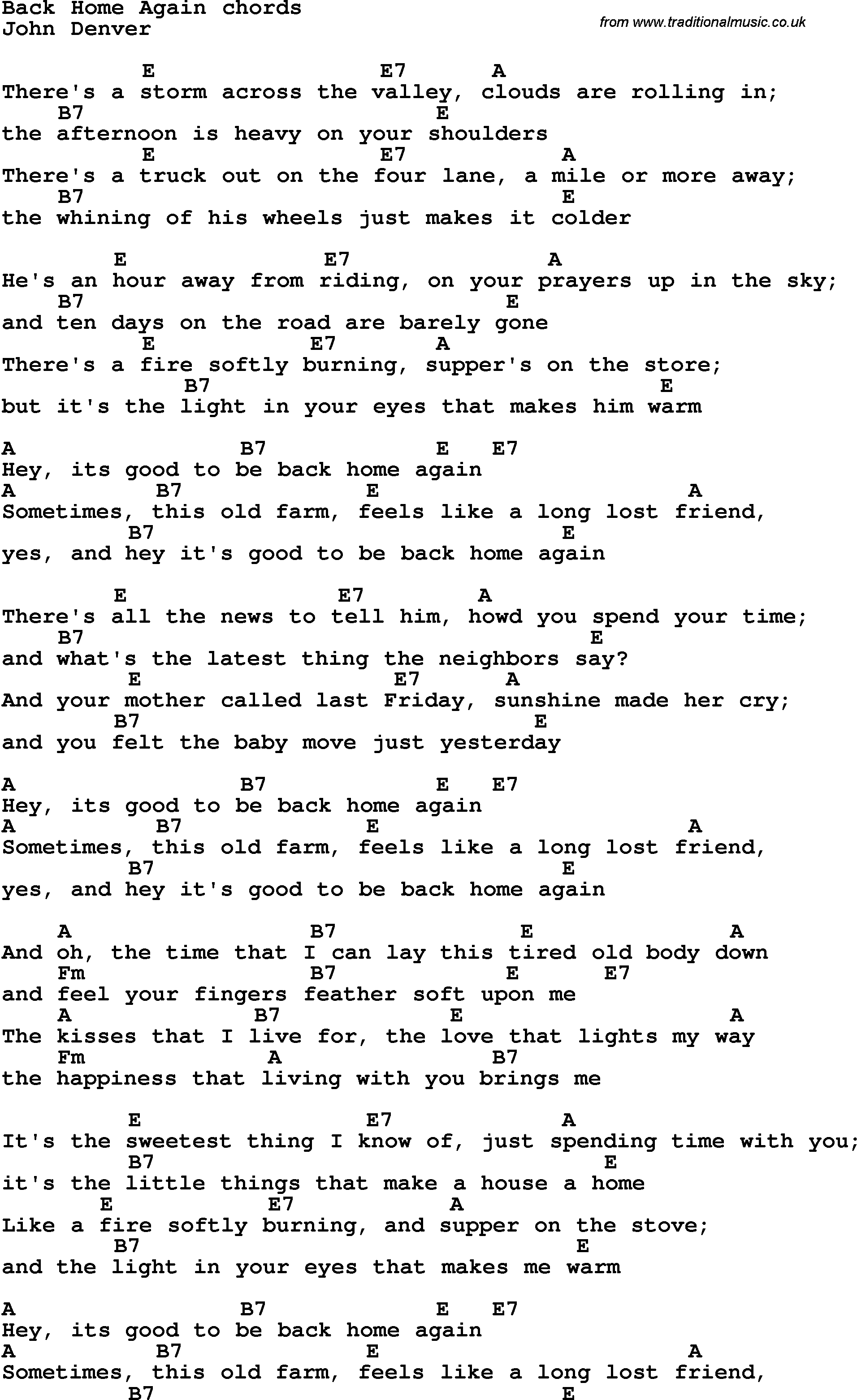 Song lyrics with guitar chords for back home again song lyrics with guitar chords for back home again hexwebz Gallery