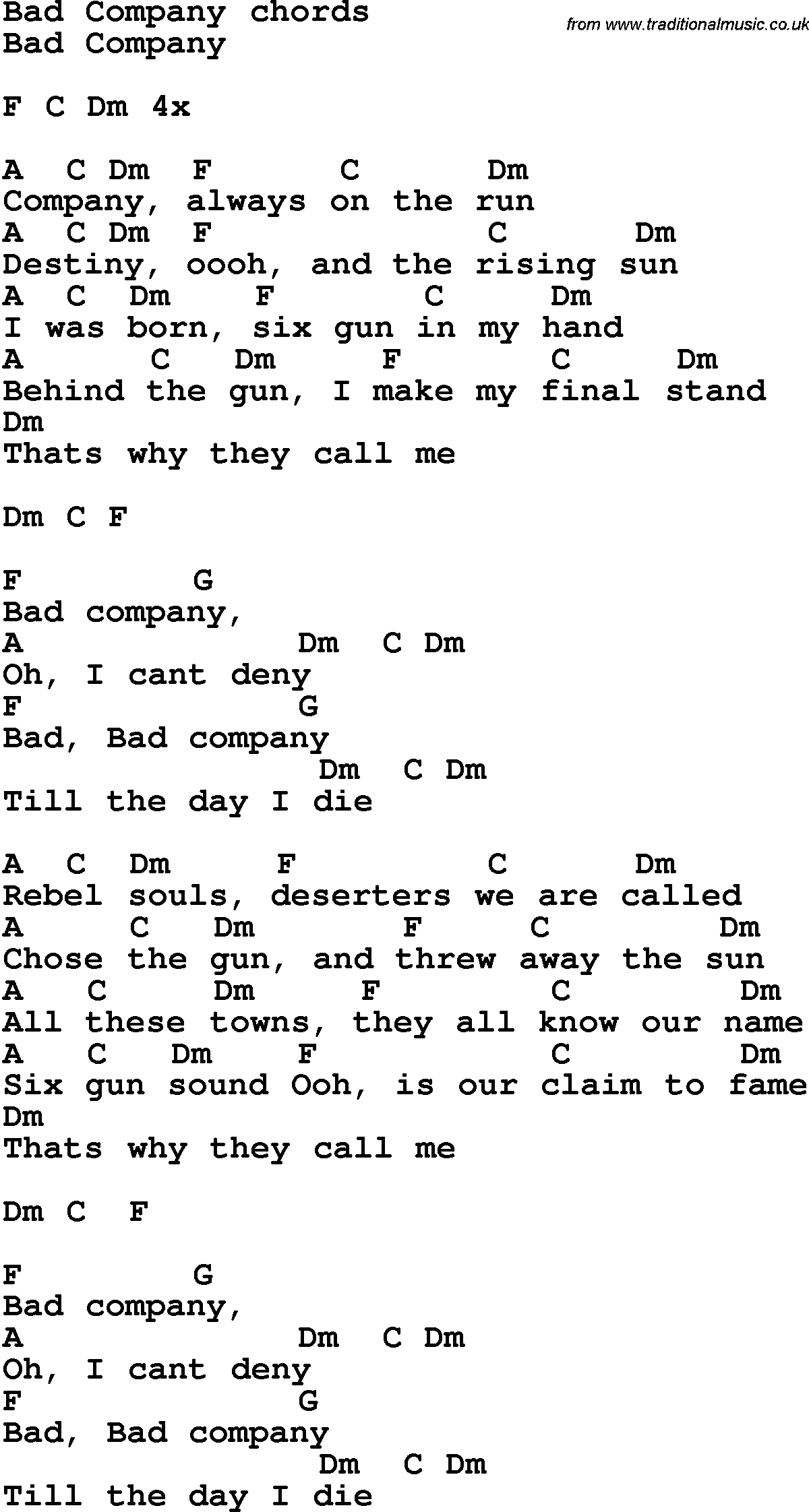 Song Lyrics With Guitar Chords For Bad Company
