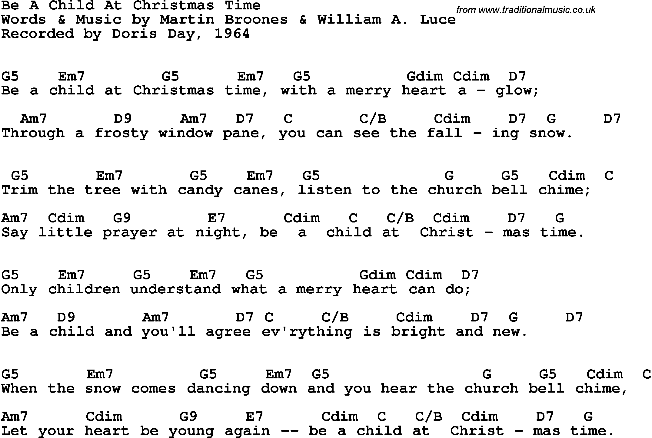 Song Lyrics With Guitar Chords For Be A Child At Christmas Time