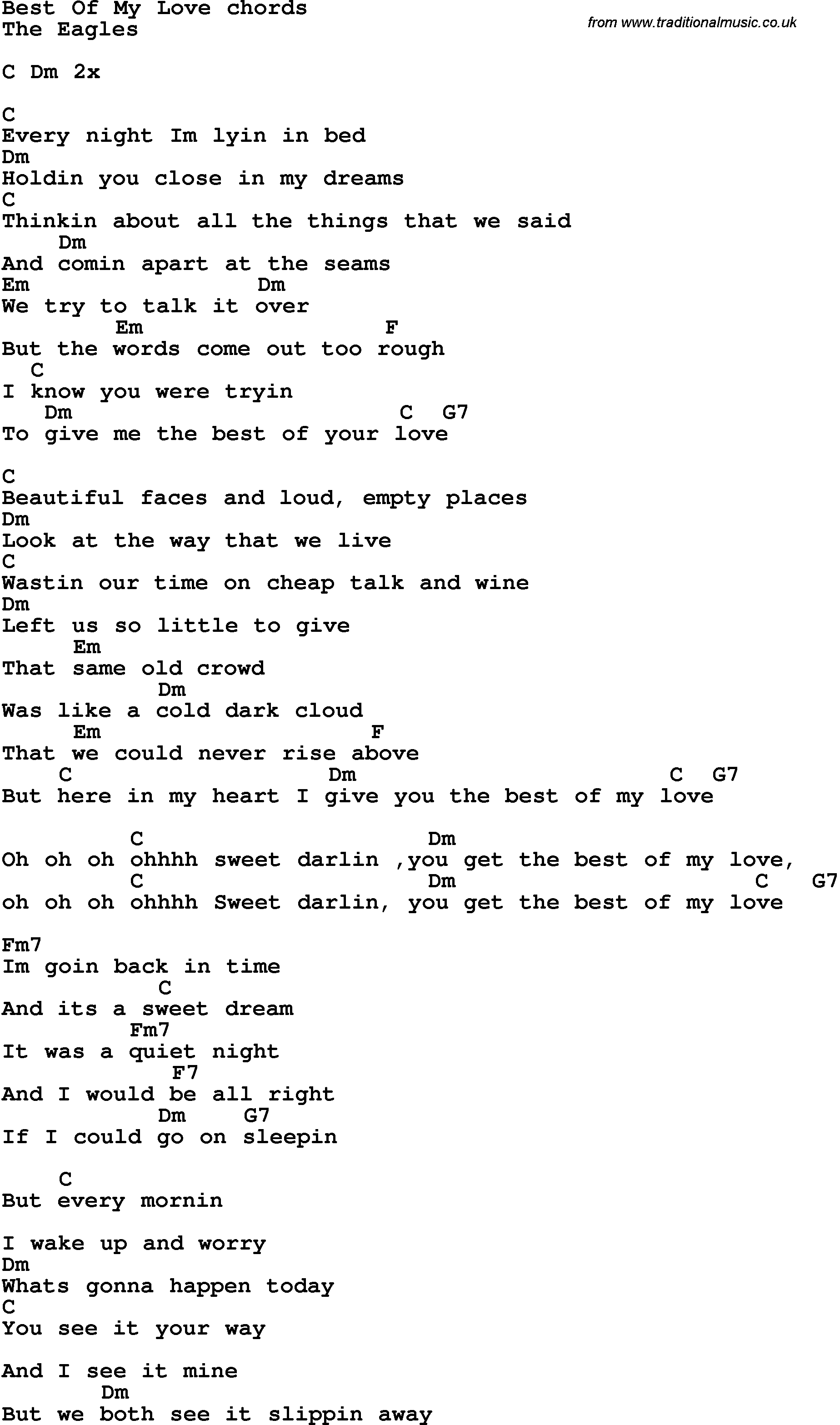 Song Lyrics With Guitar Chords For Best Of My Love