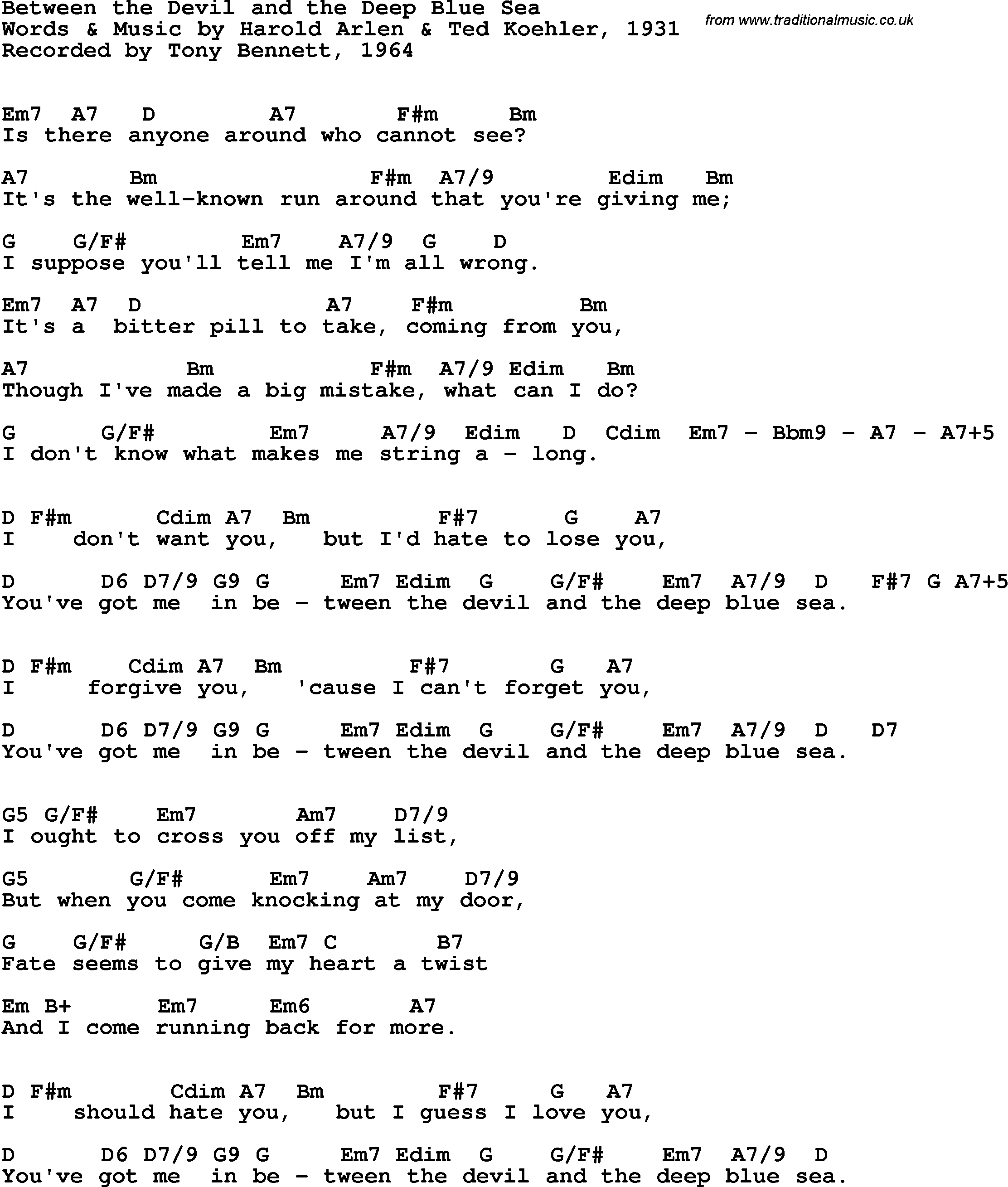 Song Lyrics With Guitar Chords For Between The Devil And The Deep