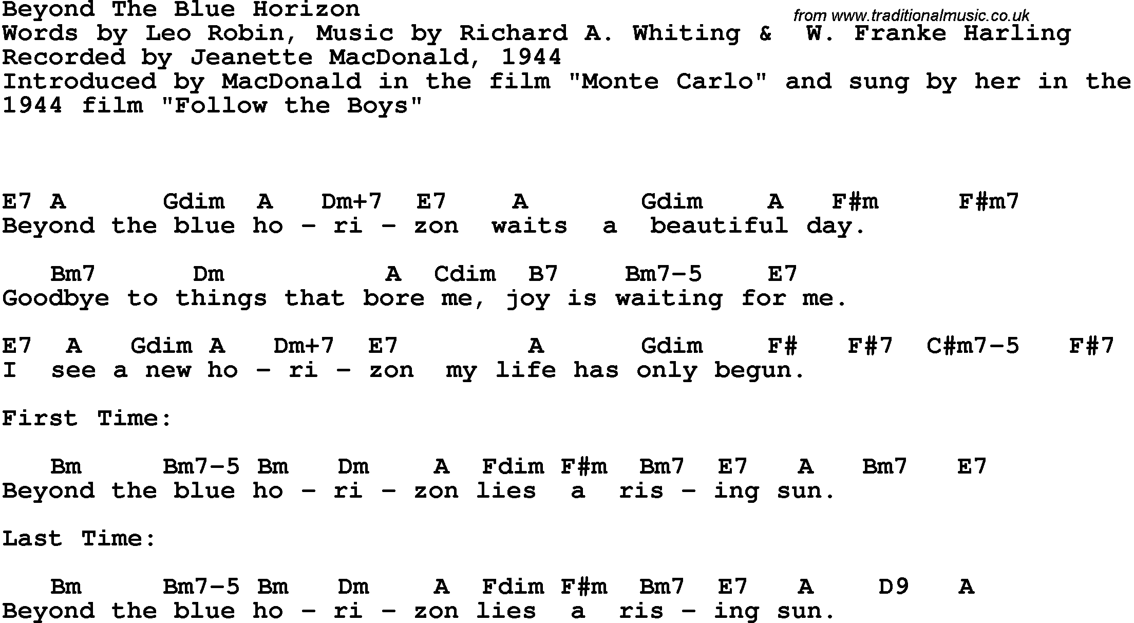 Song Lyrics With Guitar Chords For Beyond The Blue Horizon