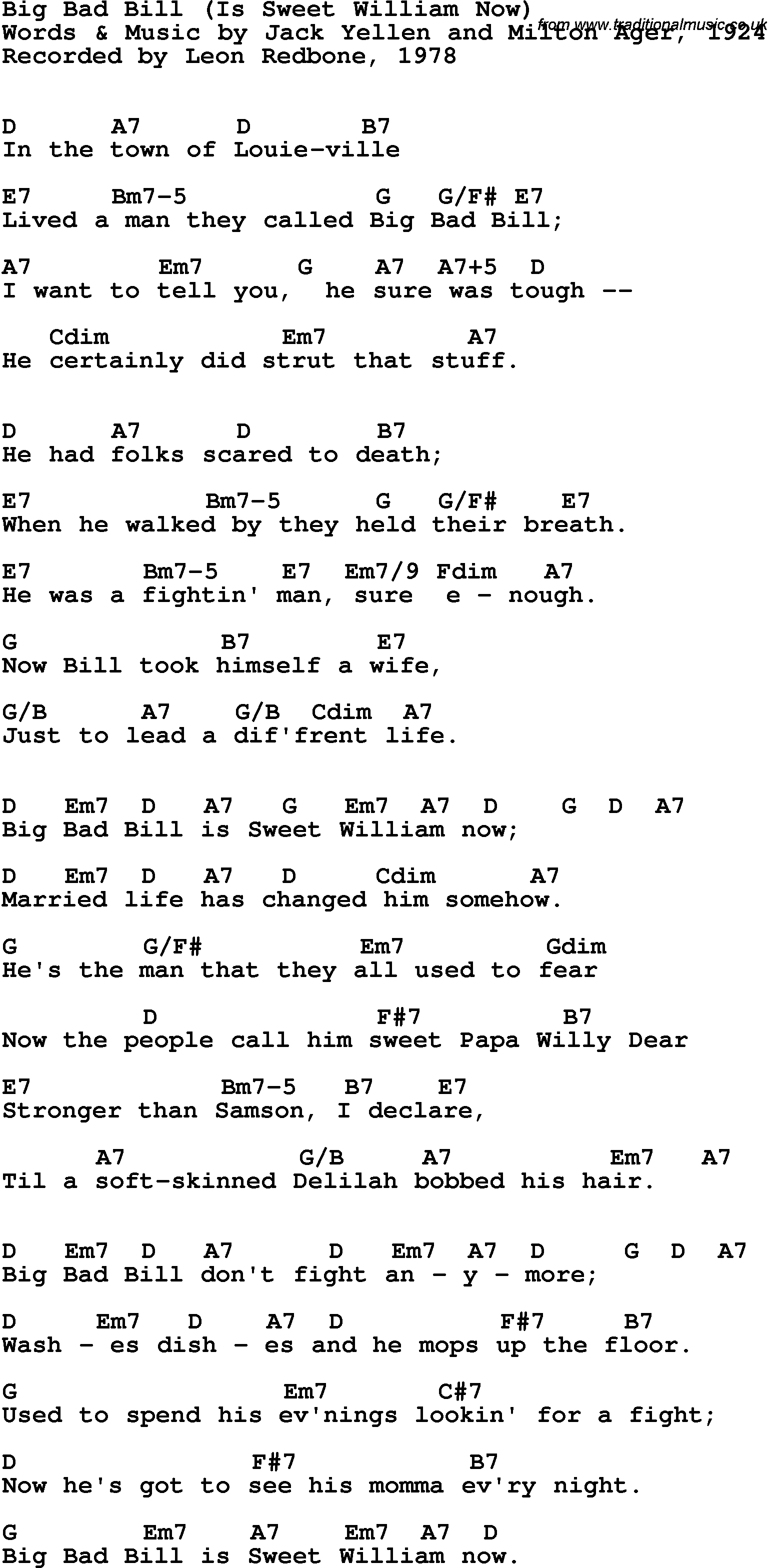 Song Lyrics With Guitar Chords For Big Bad Bill Is Sweet William