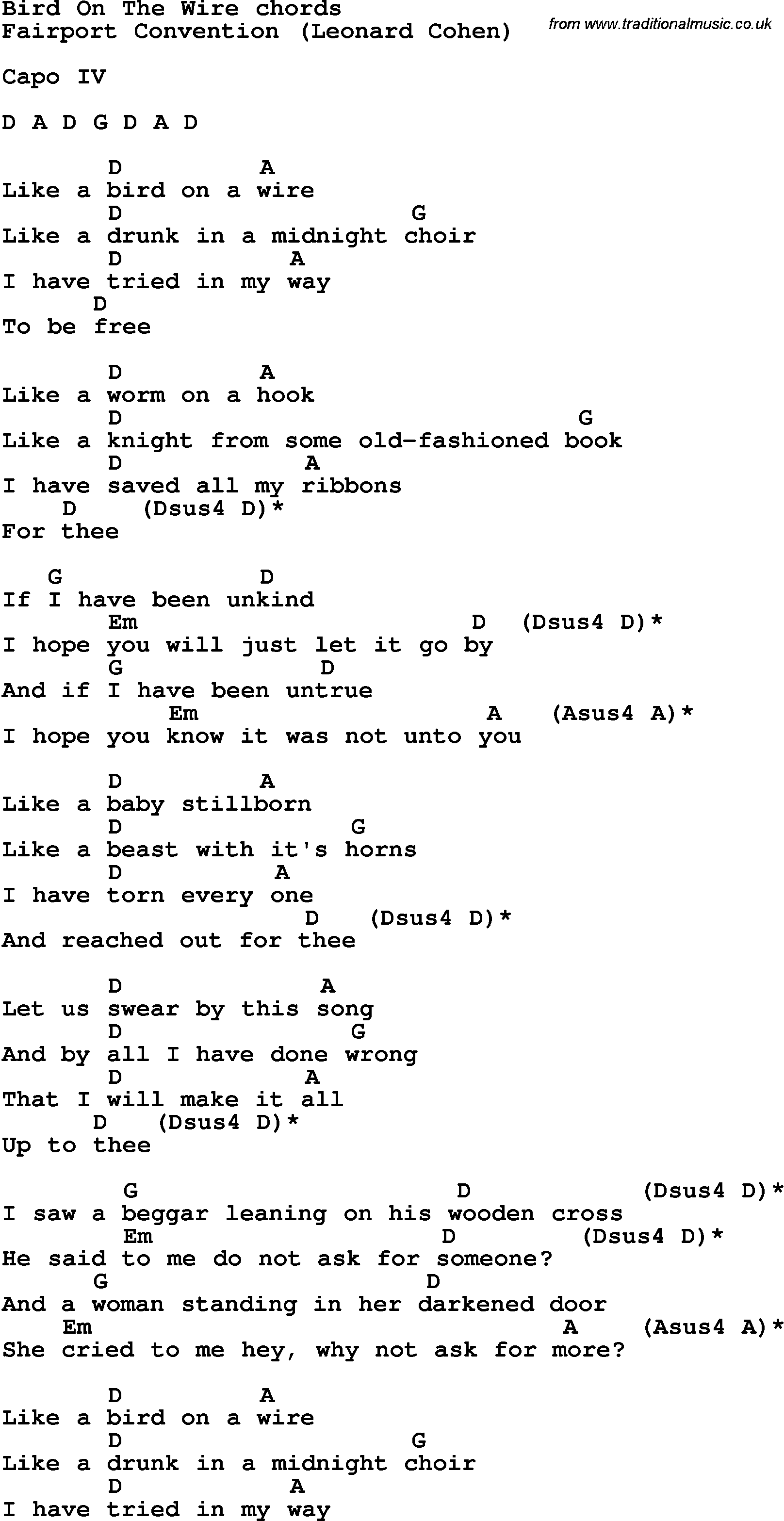 Song Lyrics With Guitar Chords For Bird On The Wire