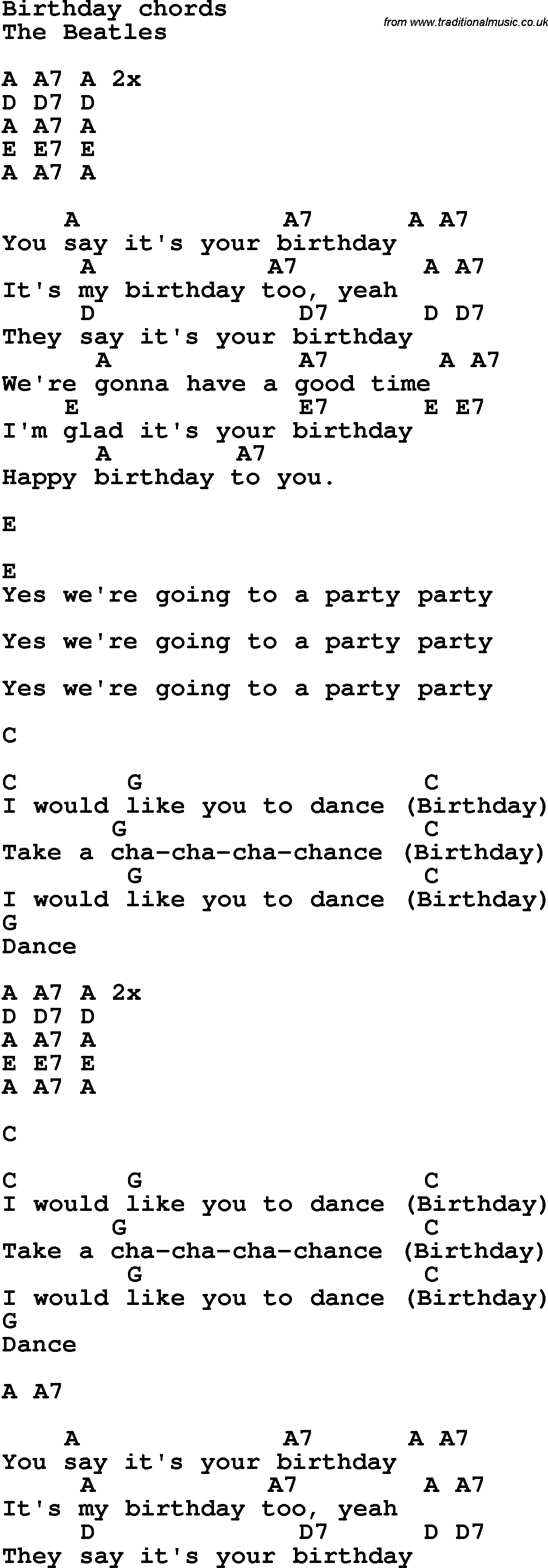 Song lyrics with guitar chords for birthday the beatles song lyrics with guitar chords for birthday the beatles hexwebz Images