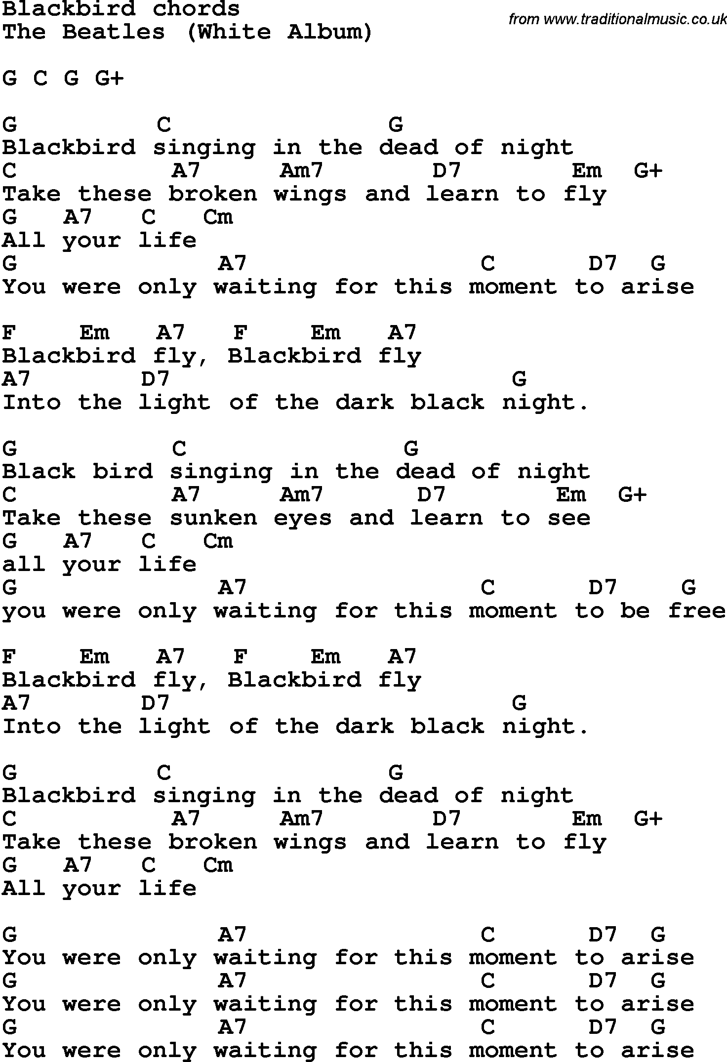 Song lyrics with guitar chords for blackbird the beatles song lyrics with guitar chords for blackbird the beatles hexwebz Images