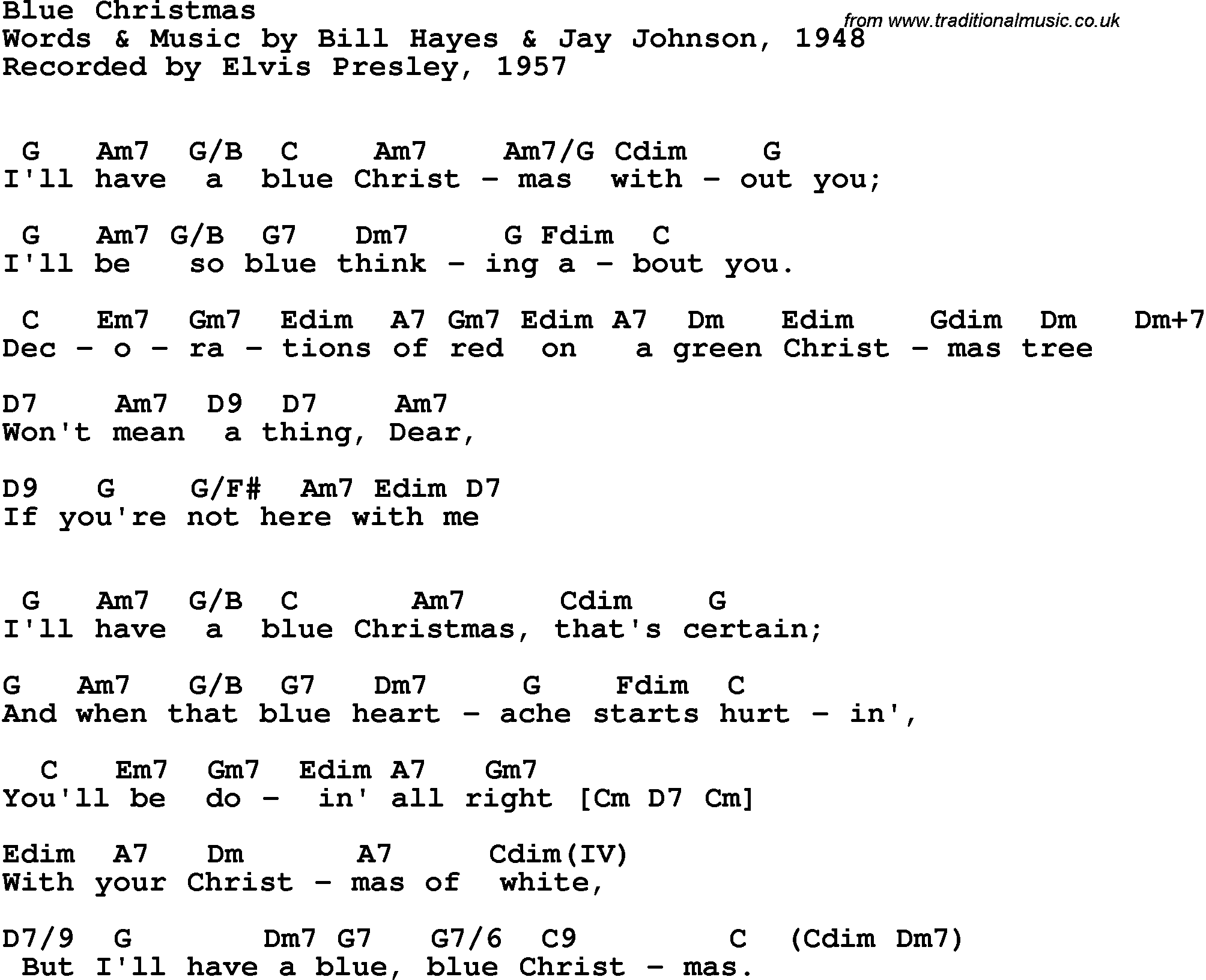 song lyrics with guitar chords for blue christmas elvis presley 1957 - I Ll Have A Blue Christmas Lyrics