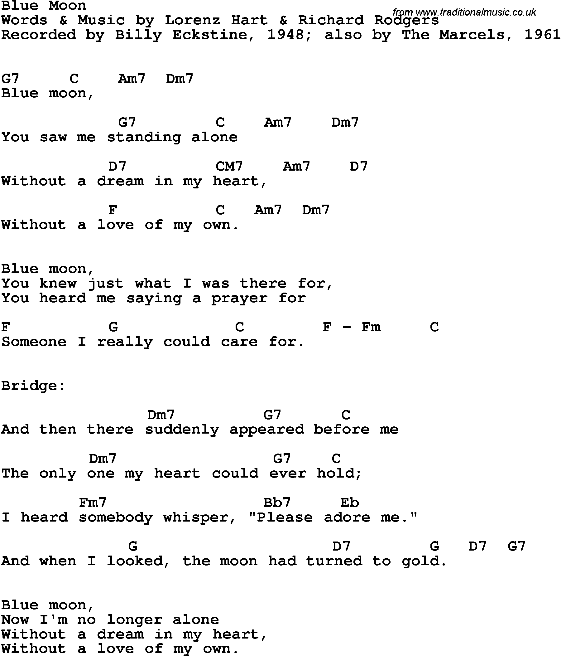 Song lyrics with guitar chords for Blue Moon   Billy Eckstine, 15