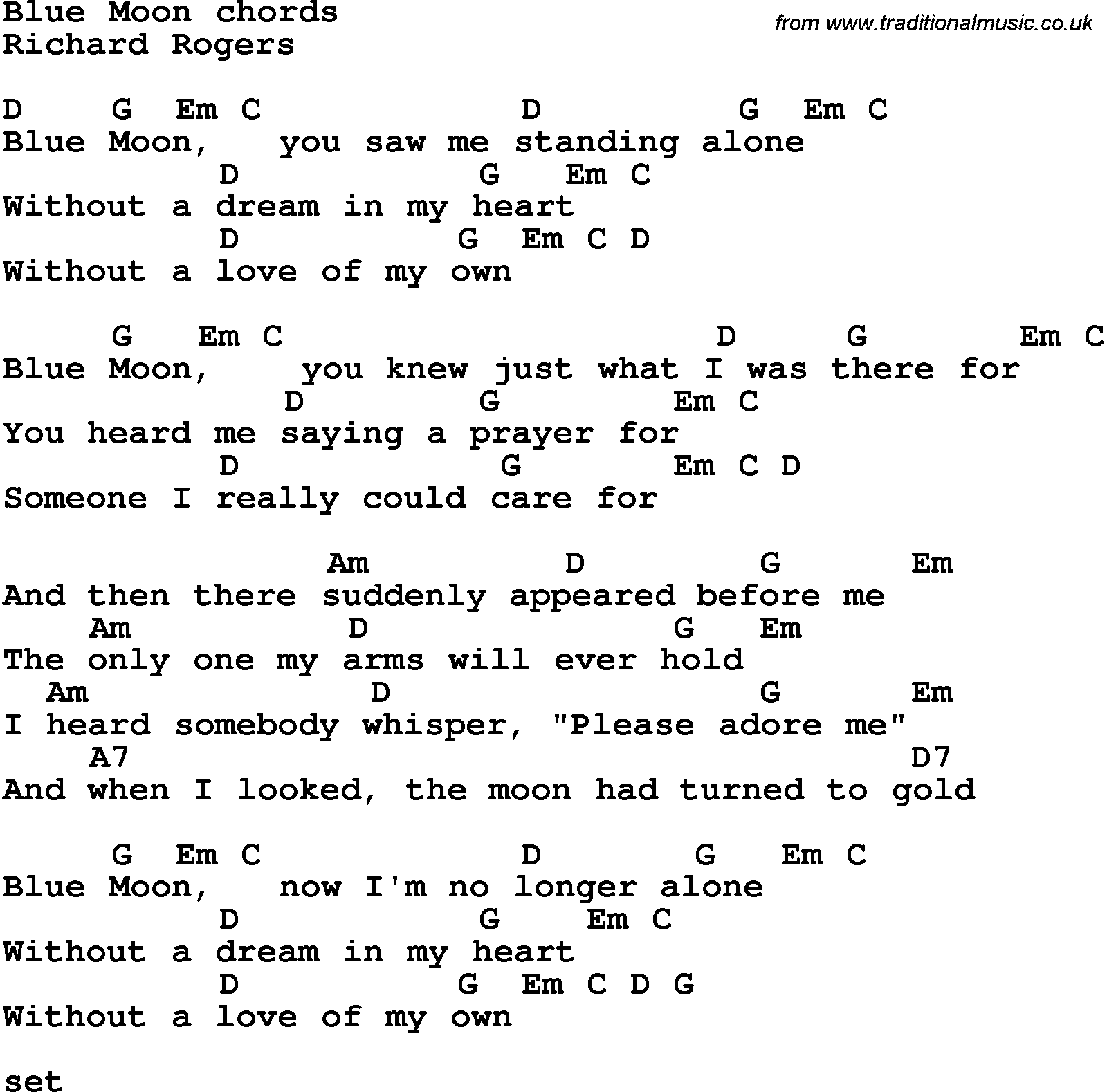 Song Lyrics With Guitar Chords For Blue Moon Richard Rogers