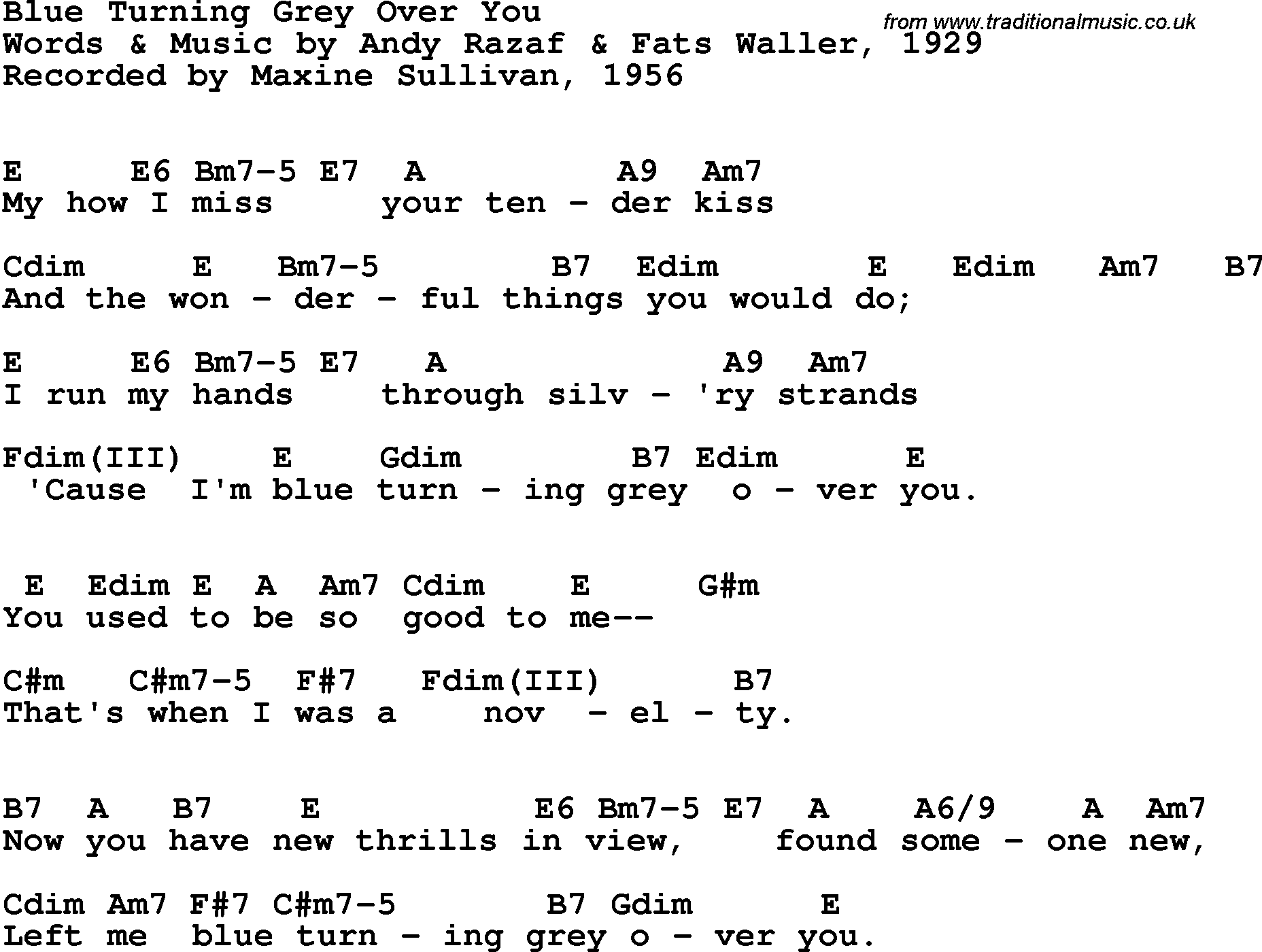 Song lyrics with guitar chords for Blue Turning Grey Over You - Maxine Sullivan, 1956